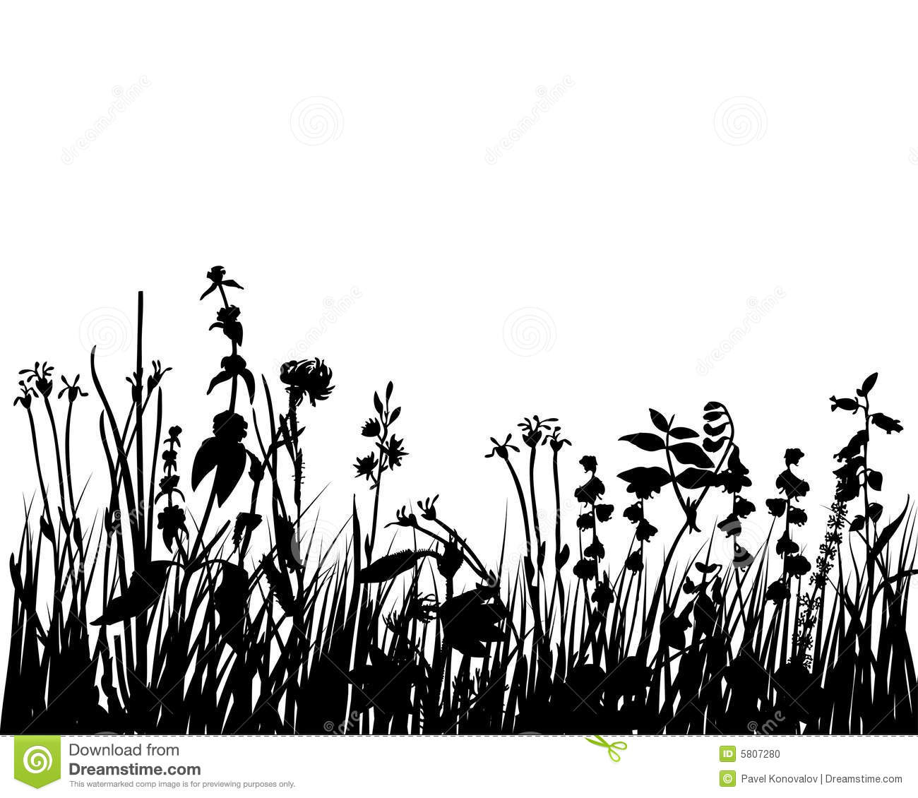 Flowers Grass And Leaves Silhouette Stock Photo Image