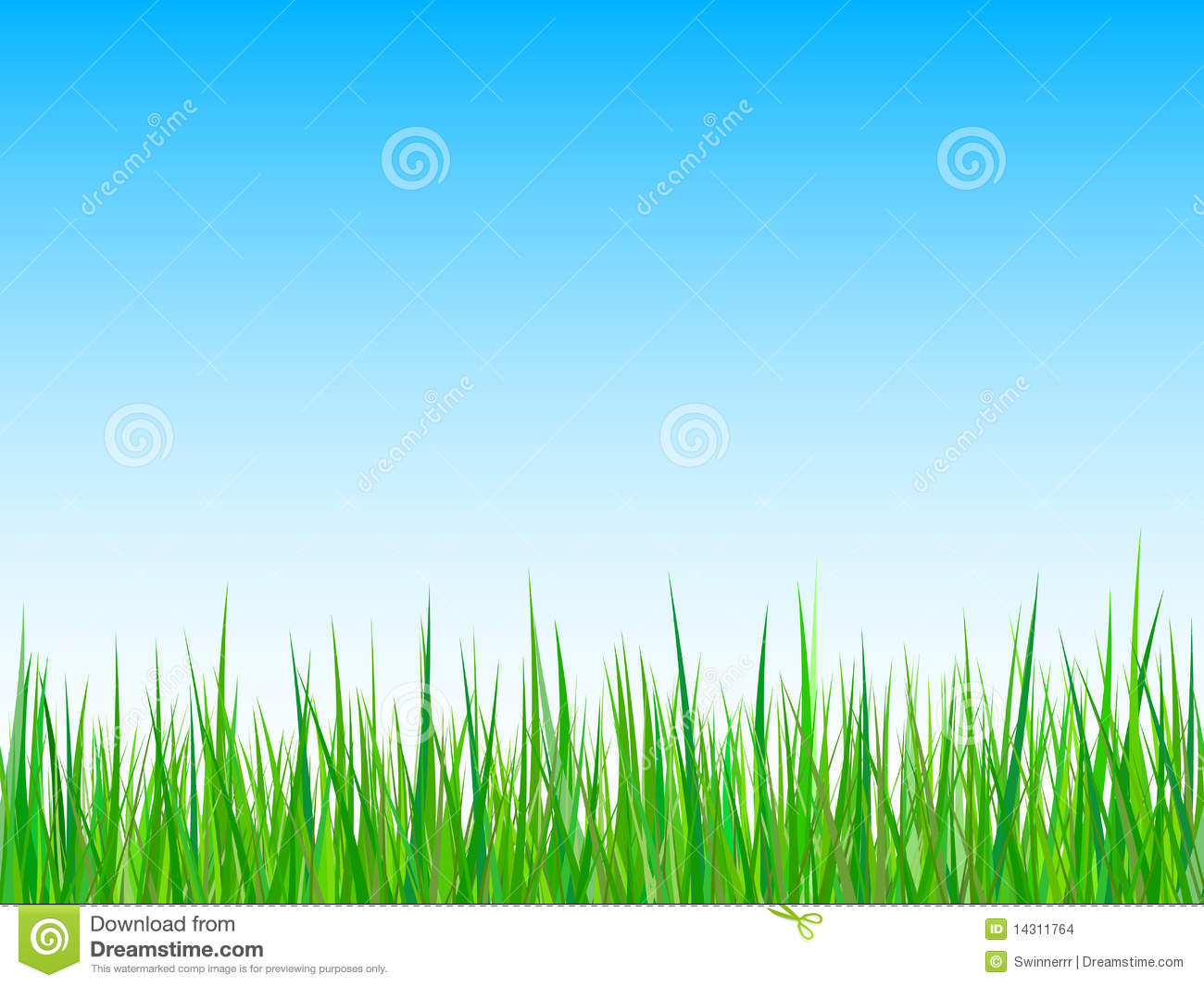 Grass On A Blue Sky Background. Vector Stock Vector ...