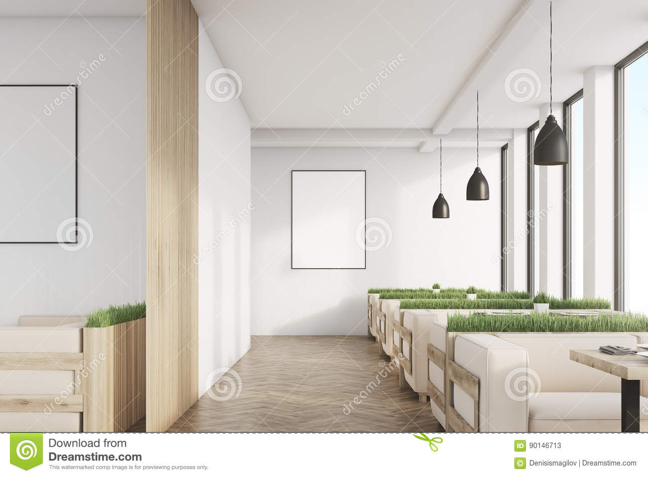 grass cafe with posters and light wood sofas stock illustration