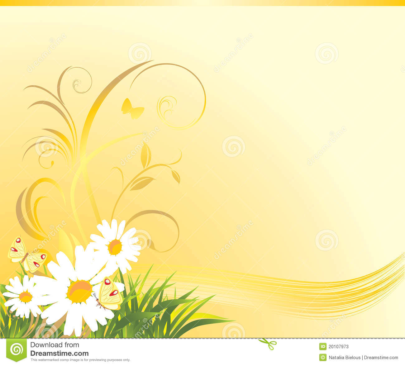 Grass With Chamomiles And Butterflies. Background Stock