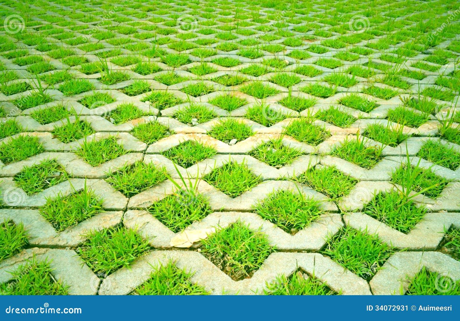 grass in concrete stock image image 34072931. Black Bedroom Furniture Sets. Home Design Ideas