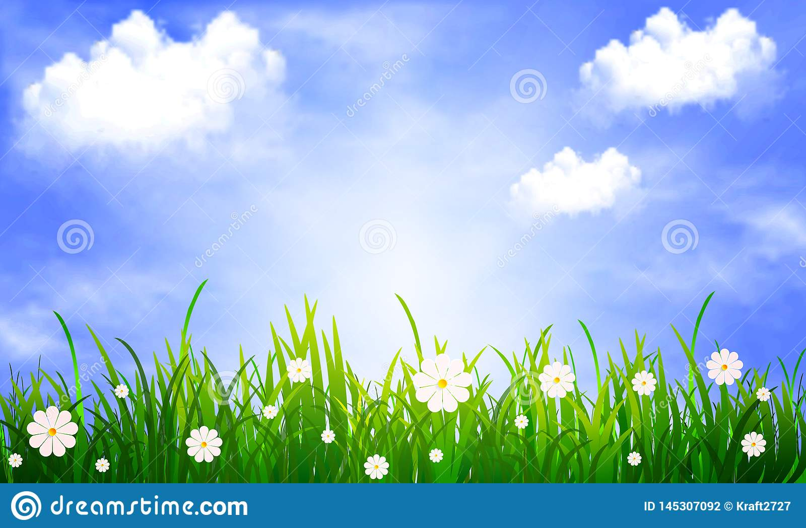 grass with daisies on a background of blue sky with clouds stock vector illustration of camomile environment 145307092 https www dreamstime com grass daisies background blue sky clouds vector art illustration grass daisies background blue sky image145307092