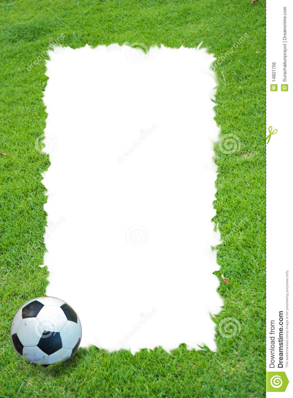 Grass Field And Football Frame Stock Photo Image Of