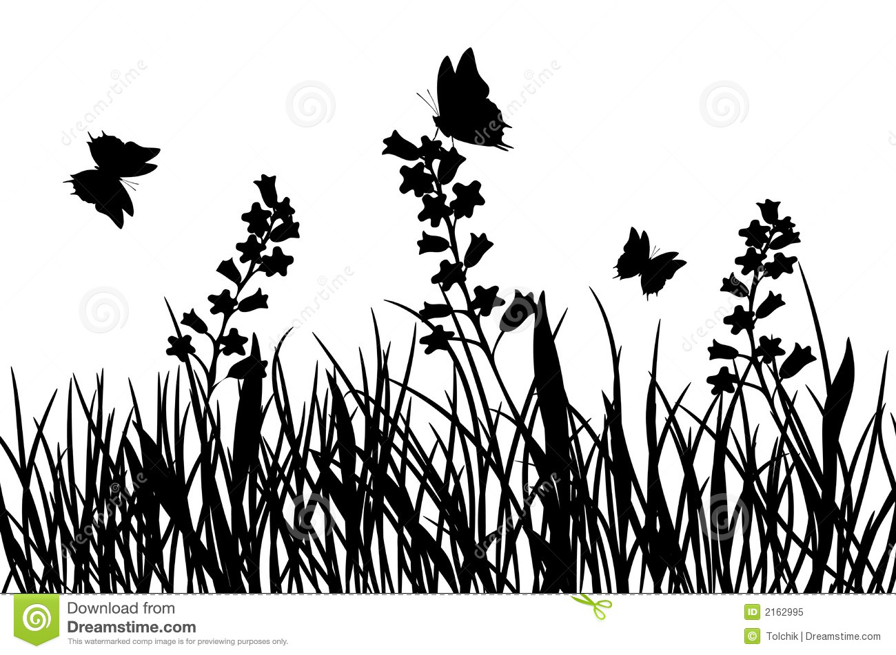 Grass and flower, vector stock vector. Illustration of silhouette ...