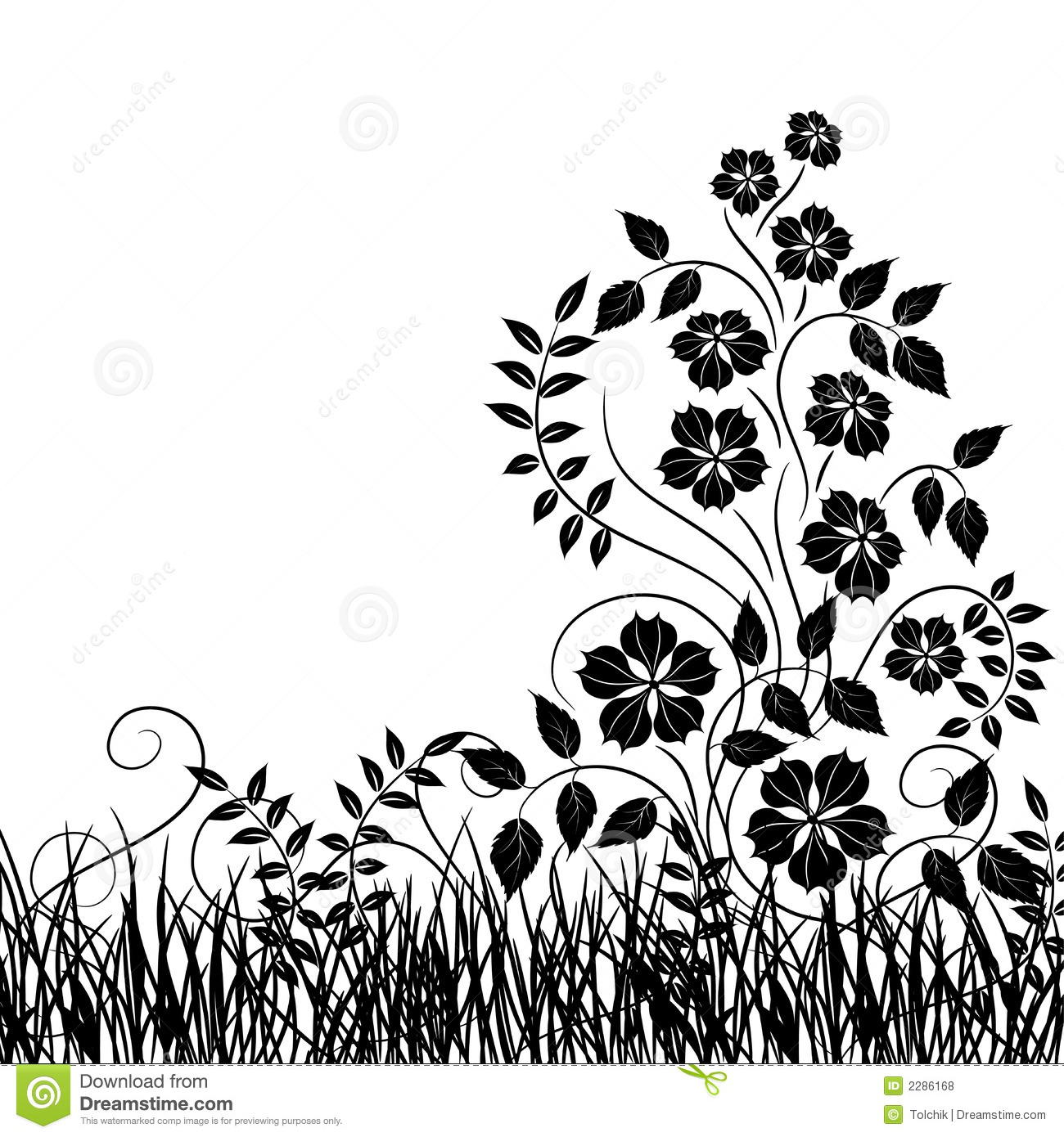 Grass and flower, vector stock vector. Illustration of vacation ...