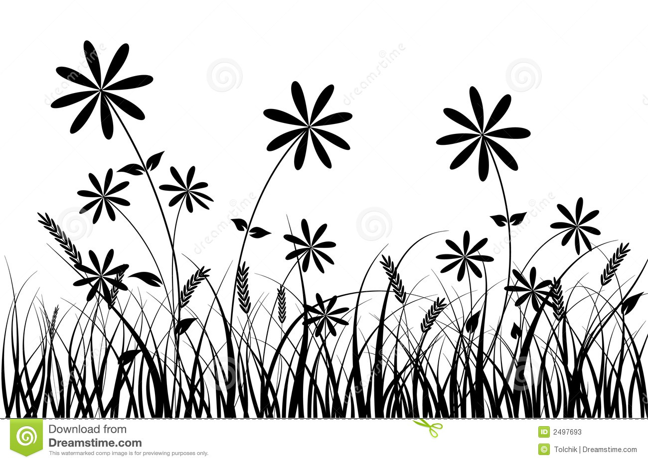 Grass and flower, vector stock vector. Illustration of abstract ...