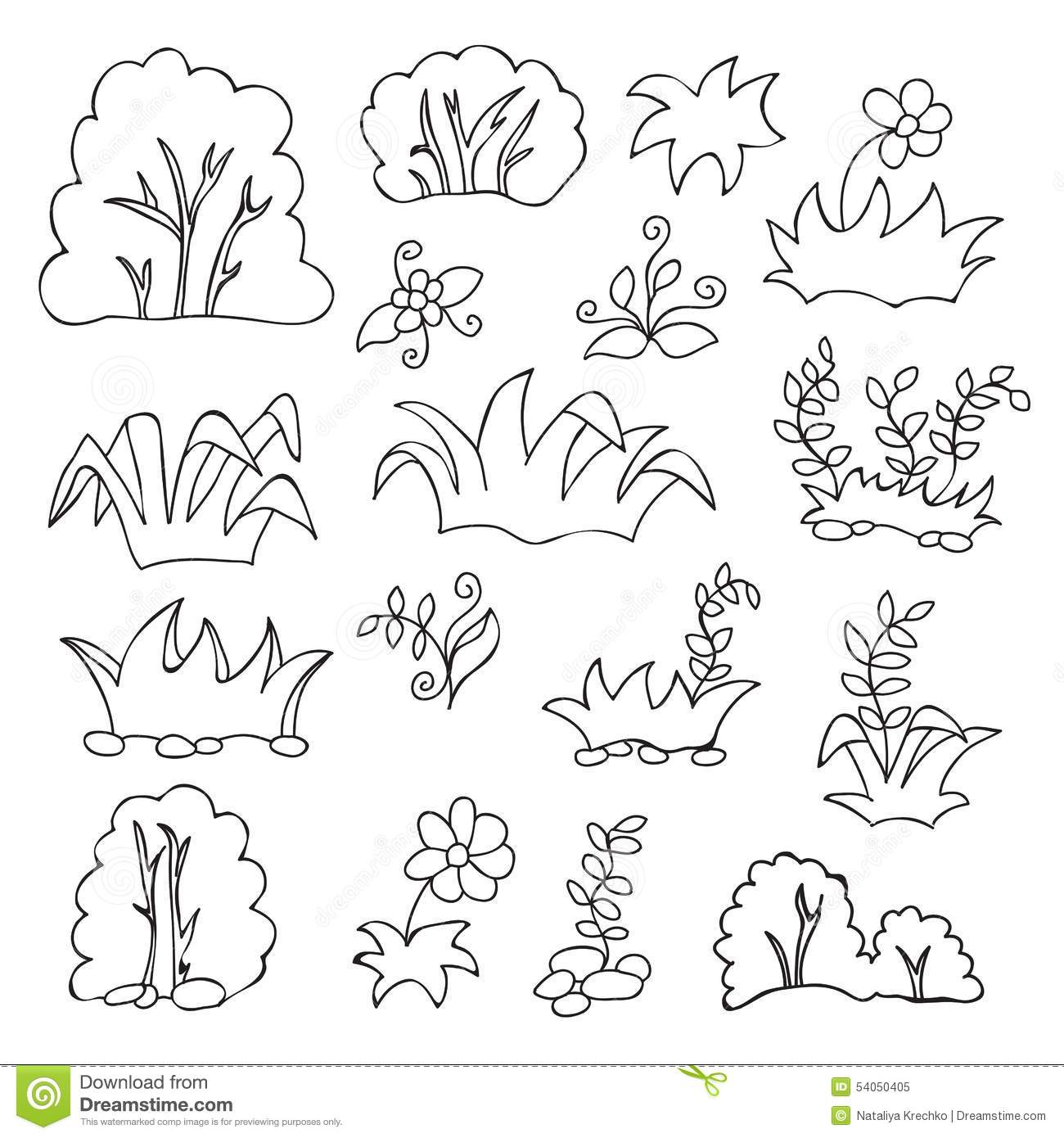 Coloring pages grass - Grass And Flowers Cartoon Coloring Book For Kids Royalty Free Stock Photo