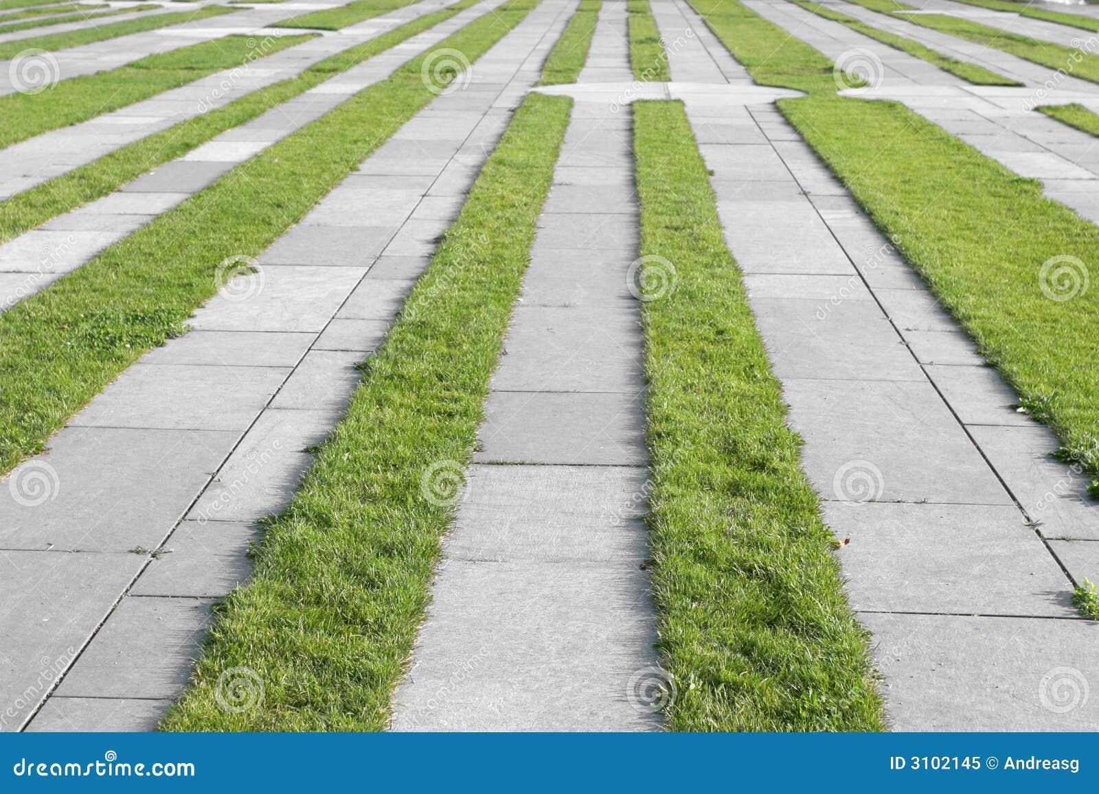 Grass Pavement Strips Royalty Free Stock Photo Image