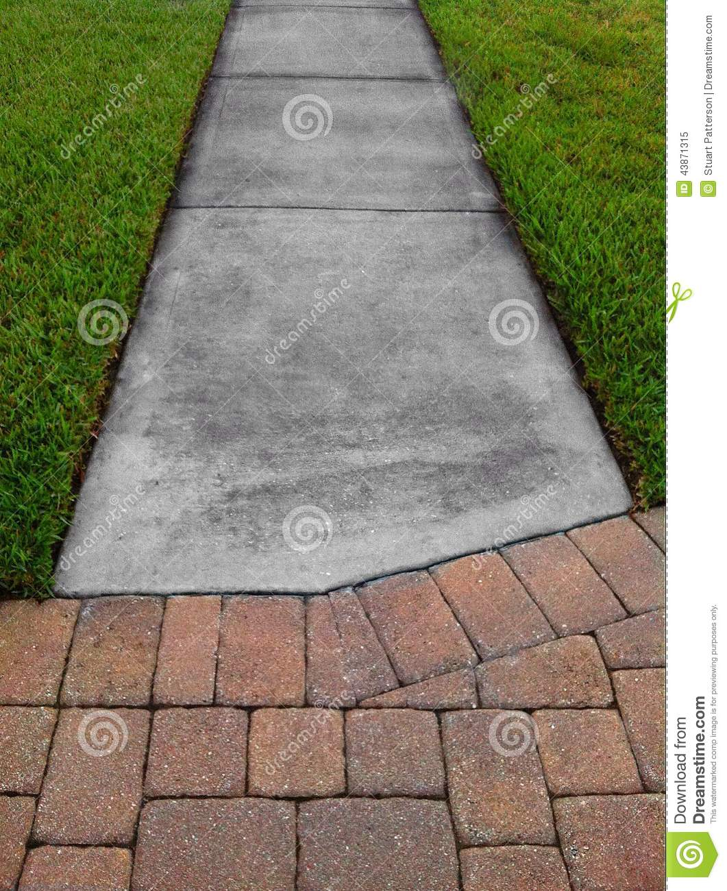 Grass sidewalk and pavers stock photo image 43871315 for Green pavers
