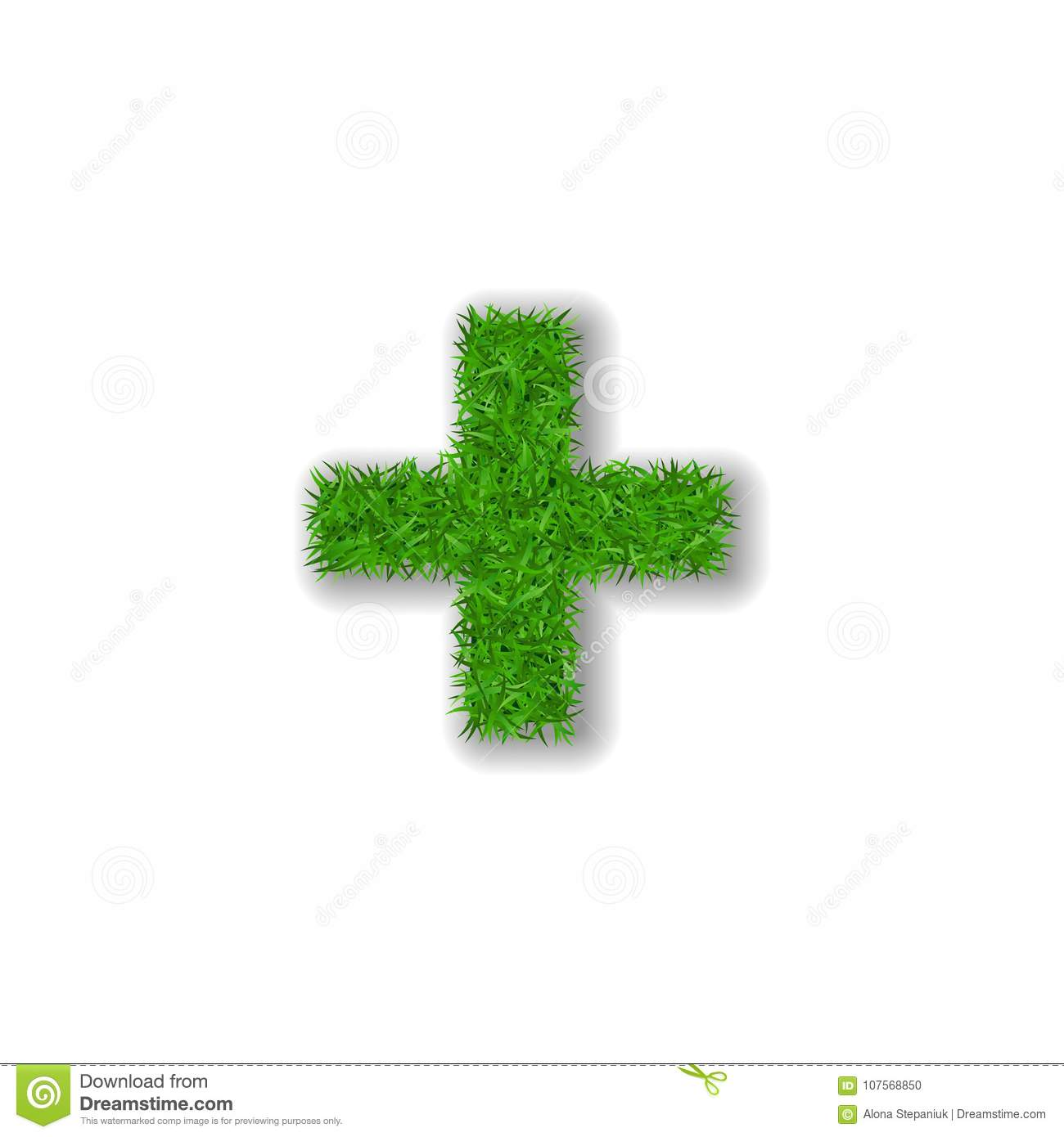 Grass Symbol Plus Green Plus Isolated On White Background Green