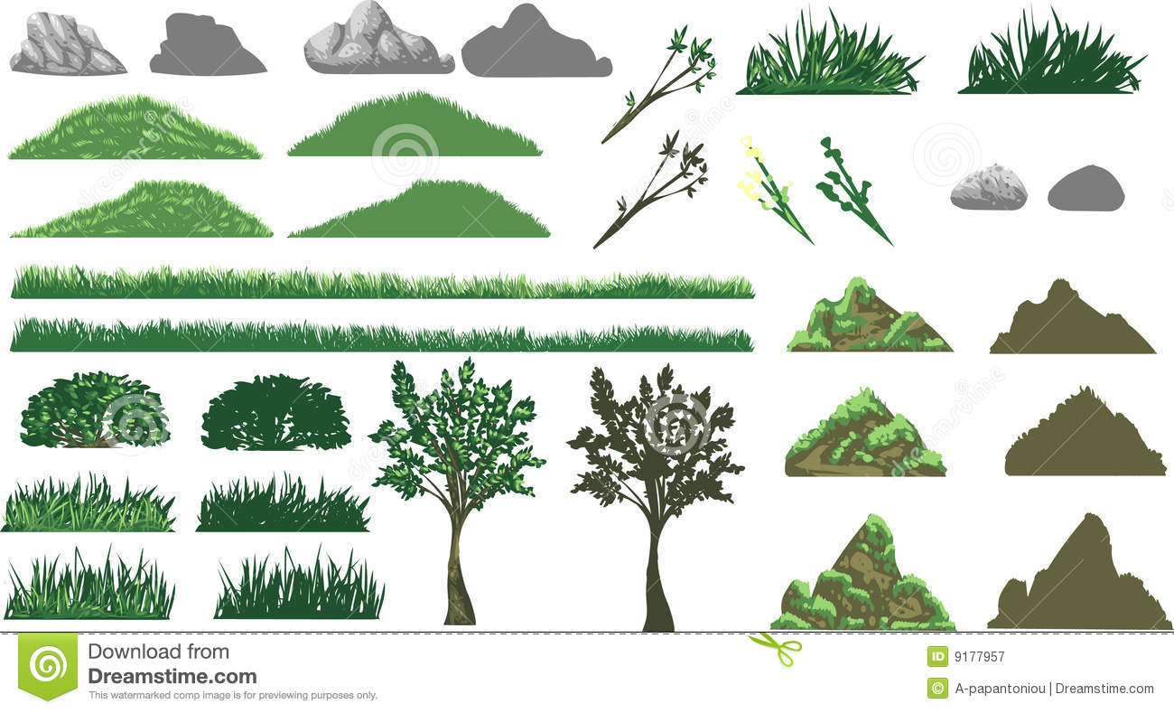 Grass, Tree And Hills Set Royalty Free Stock Photography - Image ...