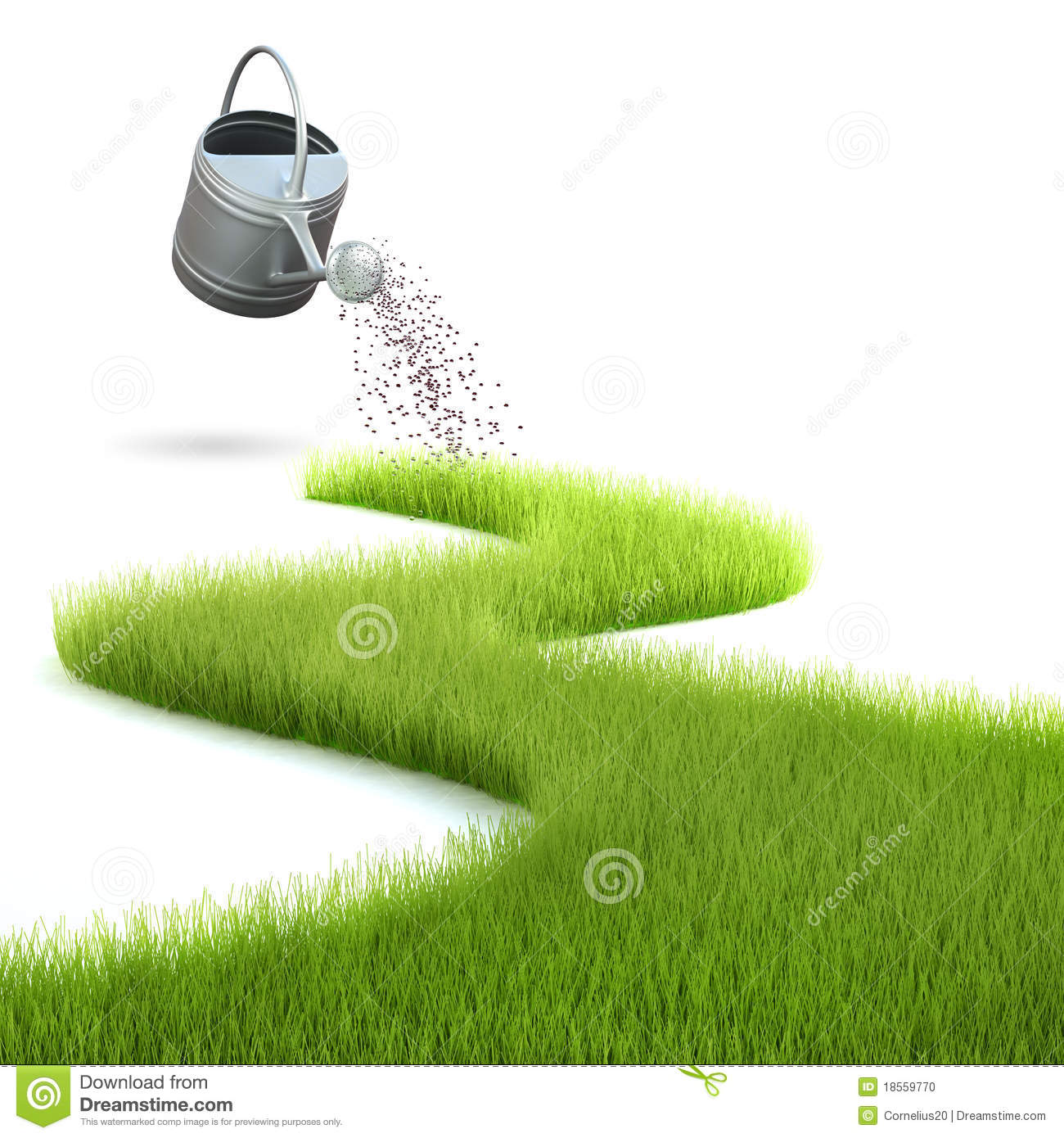 Grass And Watering Can Stock Illustration Image Of