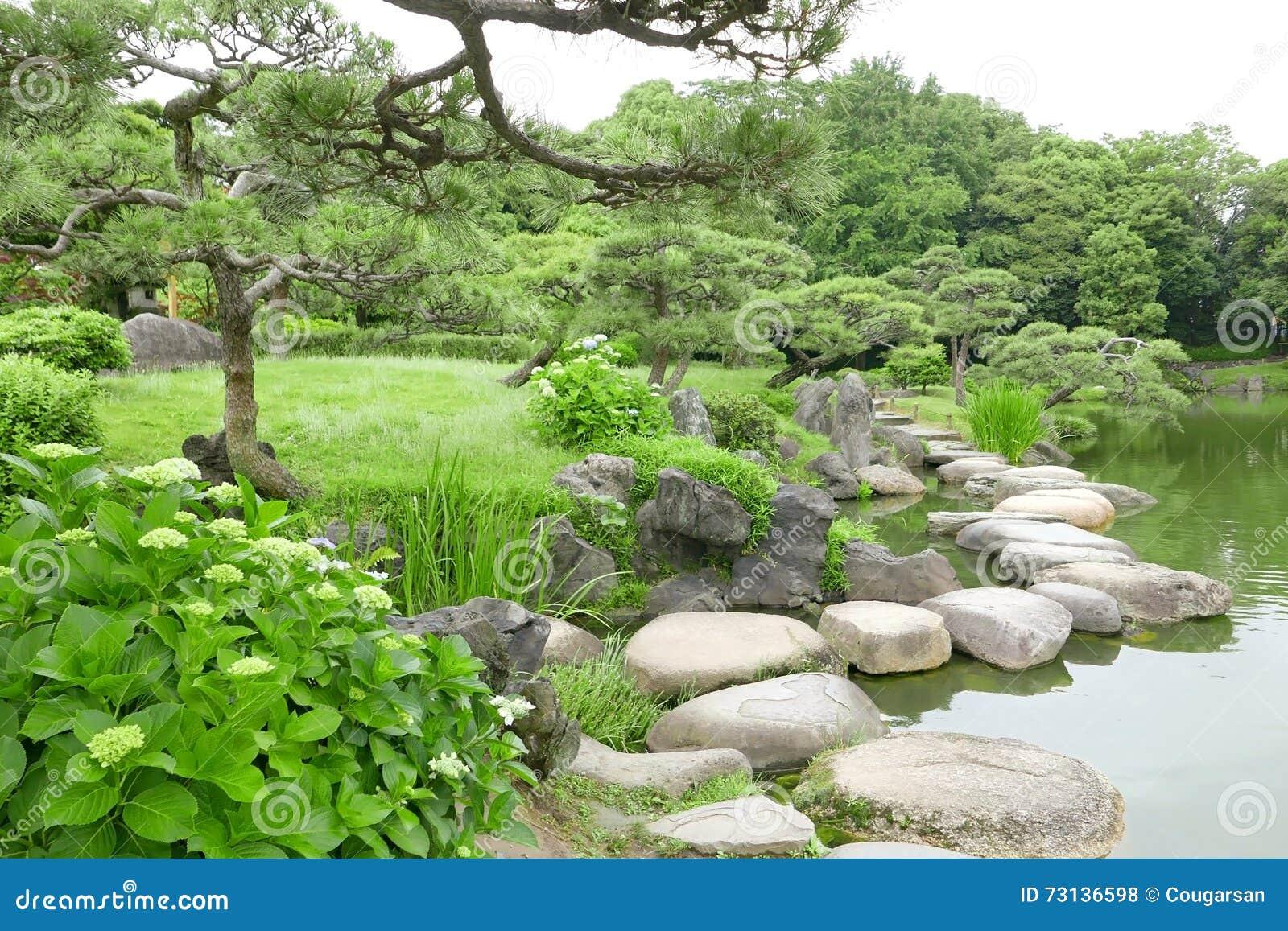 Japanese zen gardens with pond - Grasses Stone Bridge And Water Pond In Japanese Zen Garden Royalty Free Stock Photos