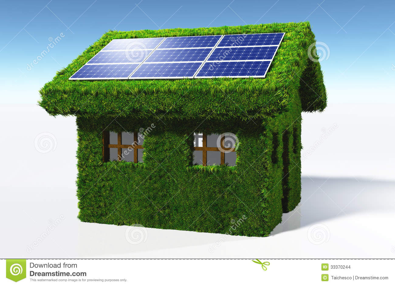 Grassy House With Solar Panels Stock Images Image 33370244