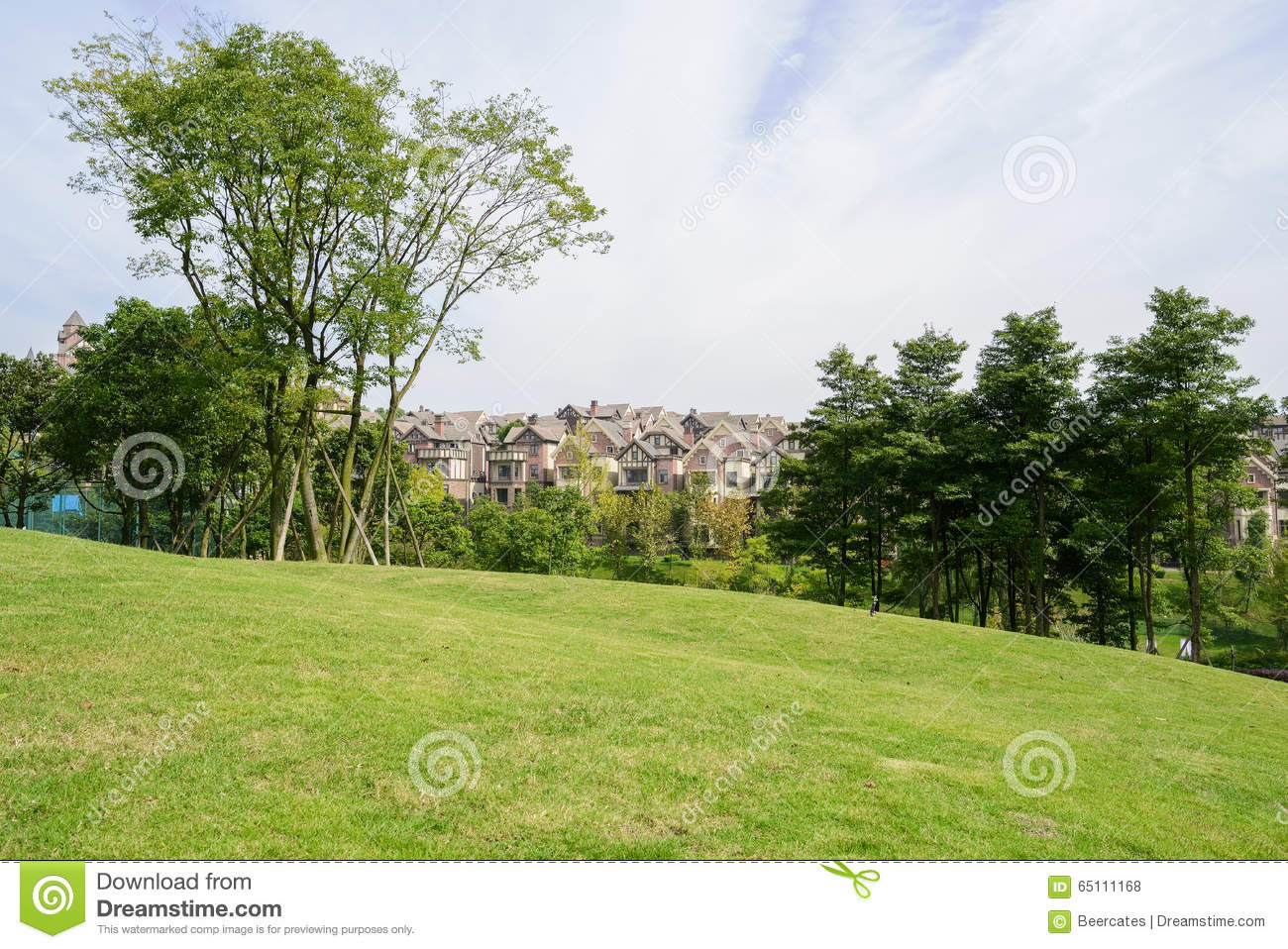 Landscaping A Sunny Hillside : Grassy lawn on the hillside near dwelling houses in sunny autumn