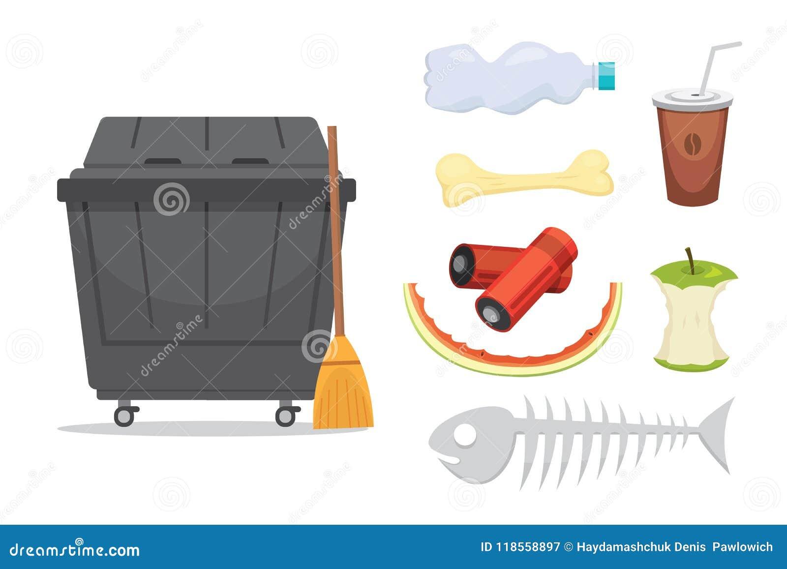 Grata i śmieci ustalone ilustracje w kreskówce projektują Biodegradable, klingeryt i śmietnik ikony,