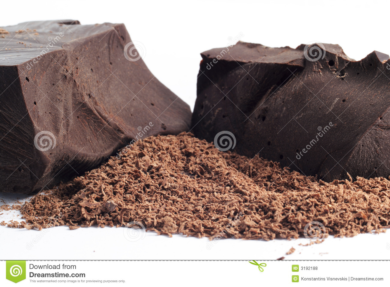 Grated and solid chocolate
