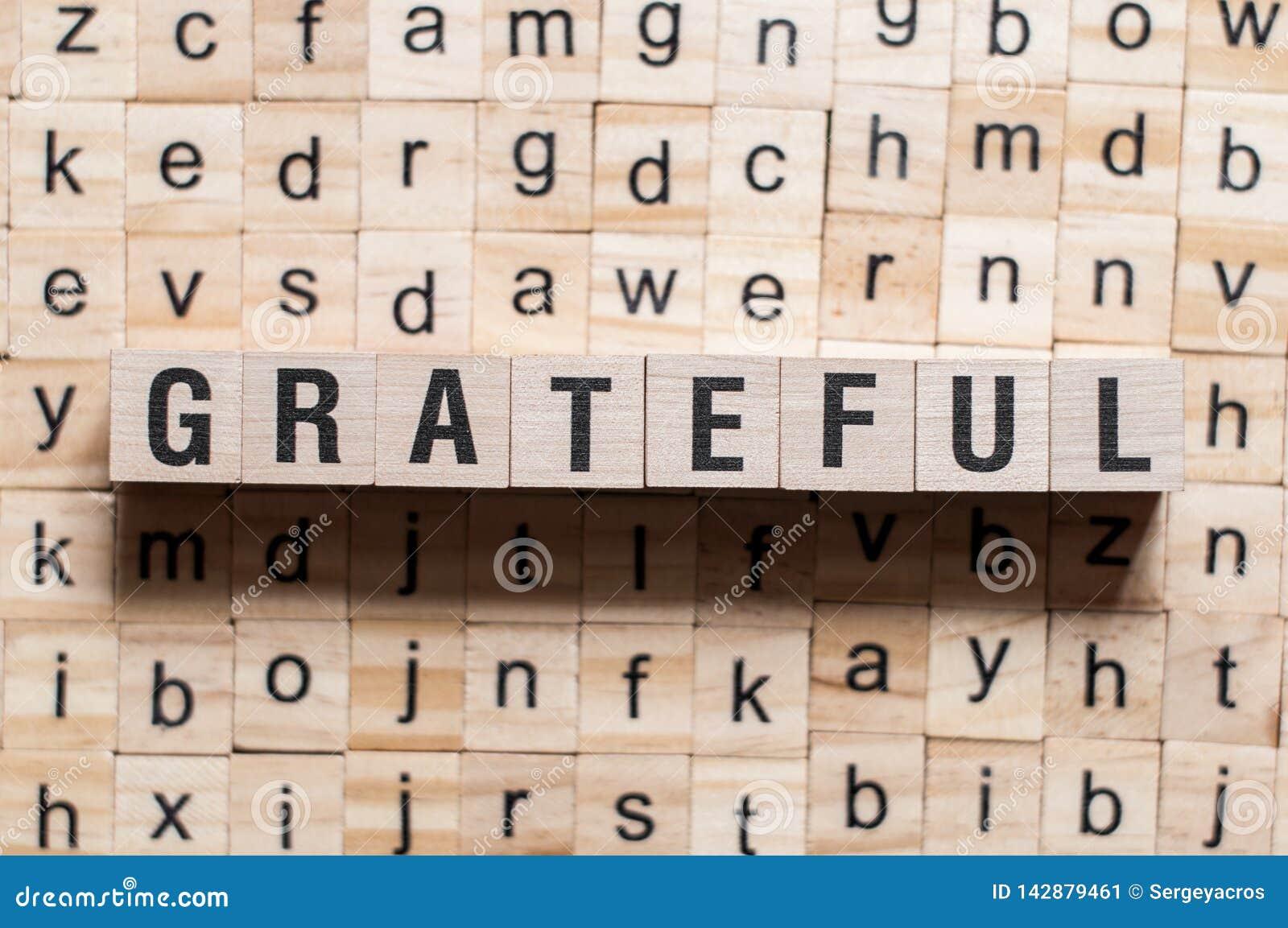 Grateful word concept