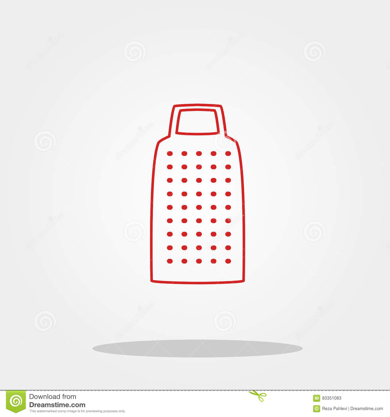 Grater Cute Icon In Trendy Flat Style Isolated On Color Background.  Kitchenware Symbol For Your