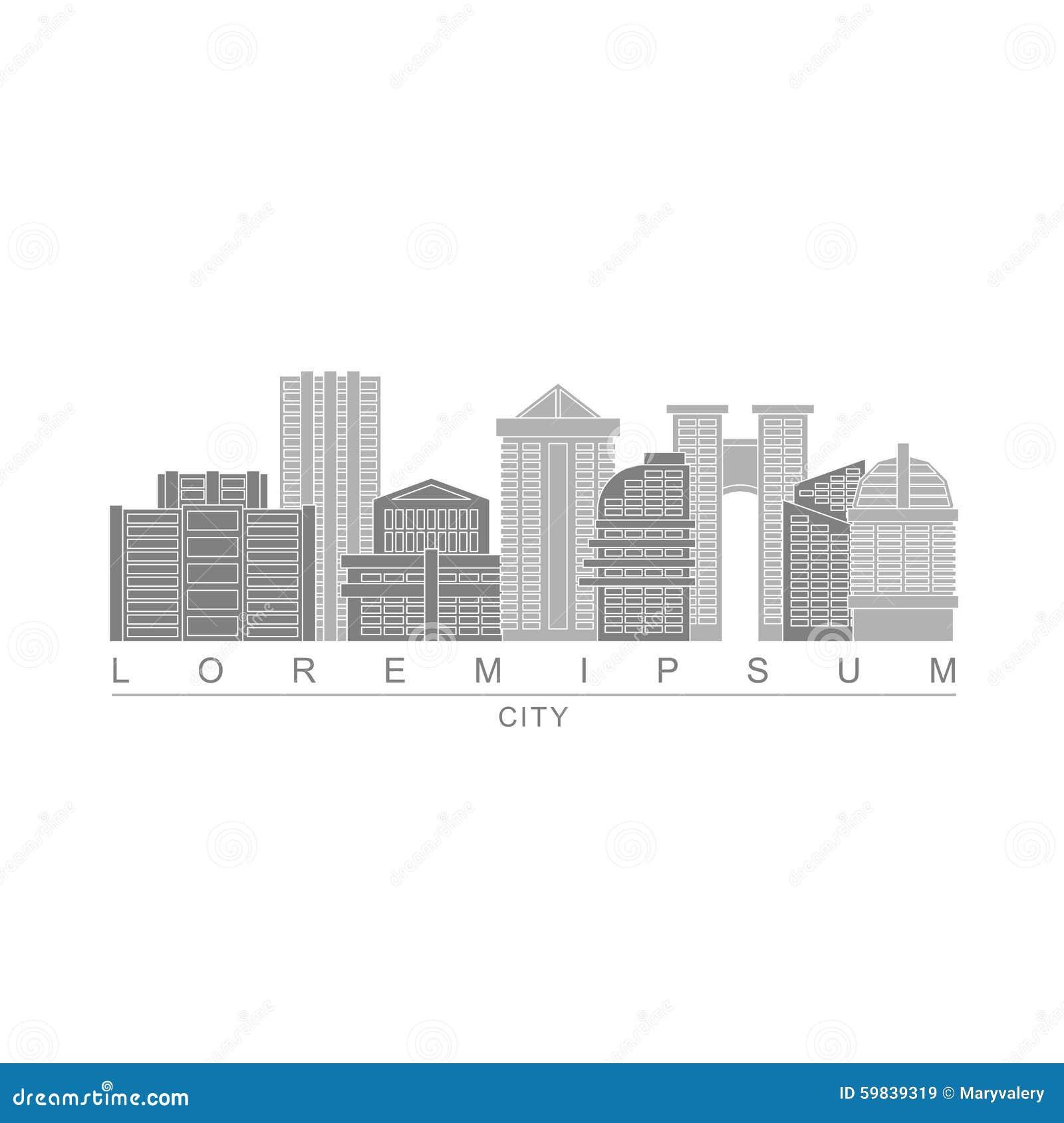 Grattacieli Di Logo Della Metropoli Città Con Le Alte Costruzioni
