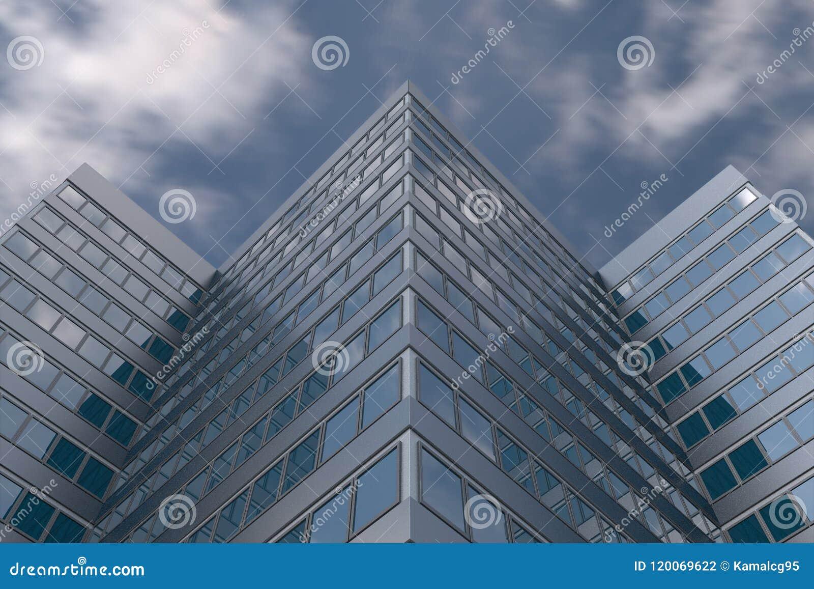 Grattacielo in cielo nuvoloso