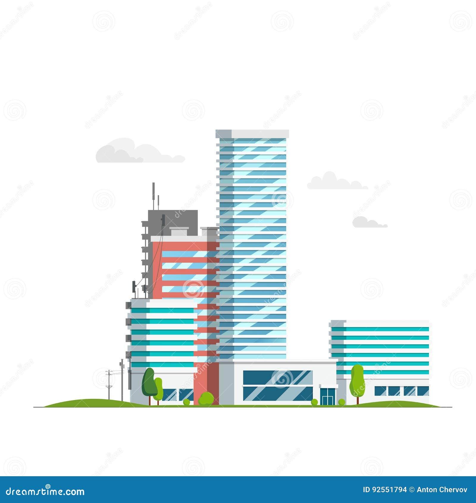 Grattacielo e case su un fondo bianco