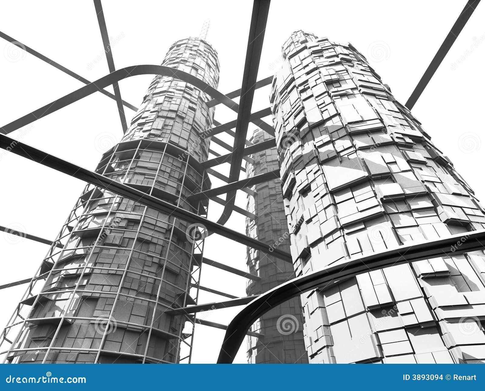 Grattacielo e monorotaie futuristici di industria