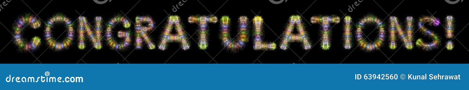 Gratulacje teksta kolorowych iskrzastych fajerwerków horyzontalny bla