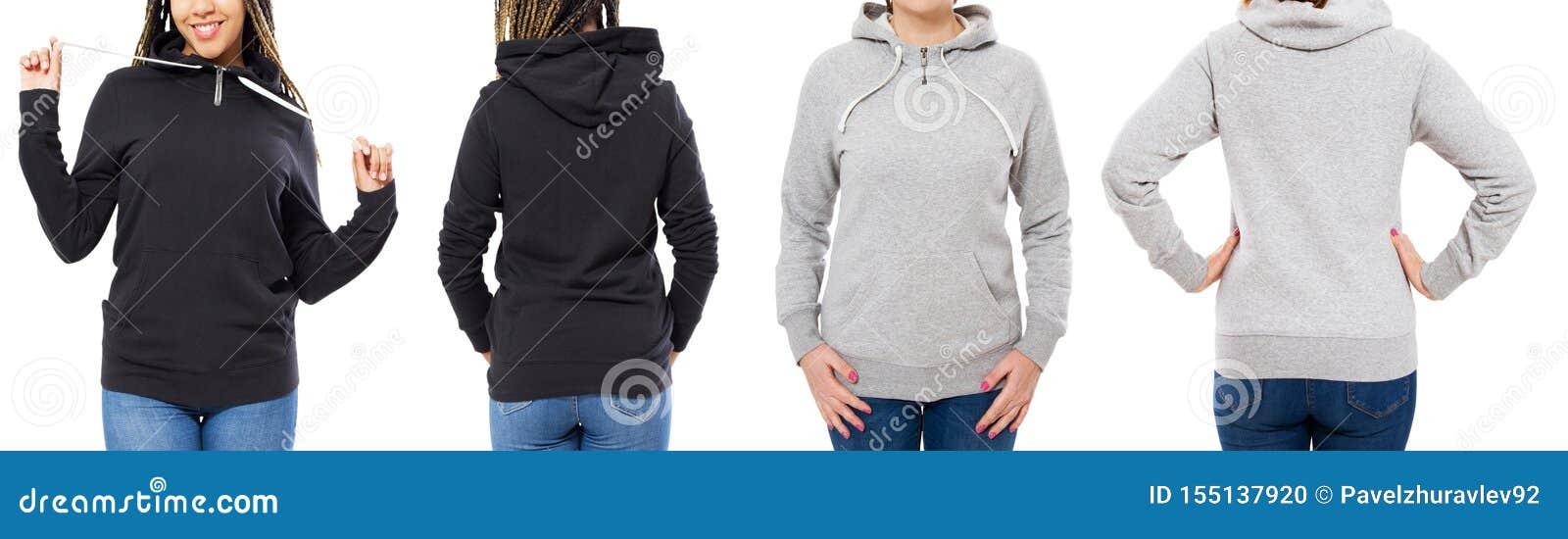 Grau und schwarze Hoodiesatzfront- und hintereansicht oben lokalisiert auf weißem Hintergrund - Haubenspott