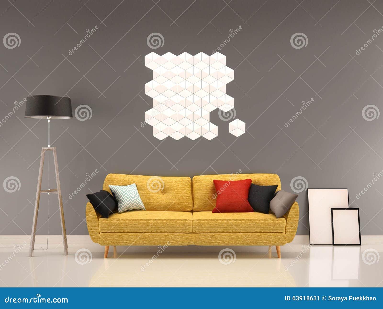Graue wand des wohnzimmers mit gelbem sofa innen stock abbildung ...