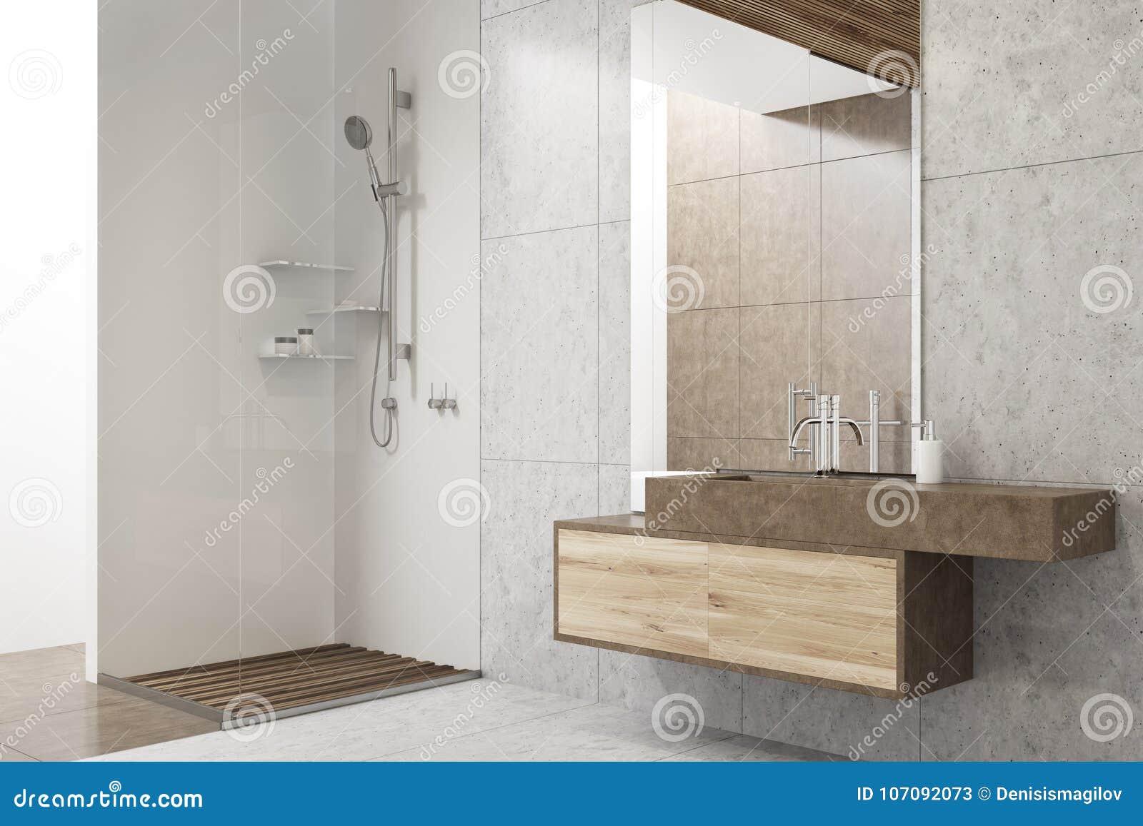 Graues Badezimmer Mit Einer Wanne, Eine Dusche Stock Abbildung ...