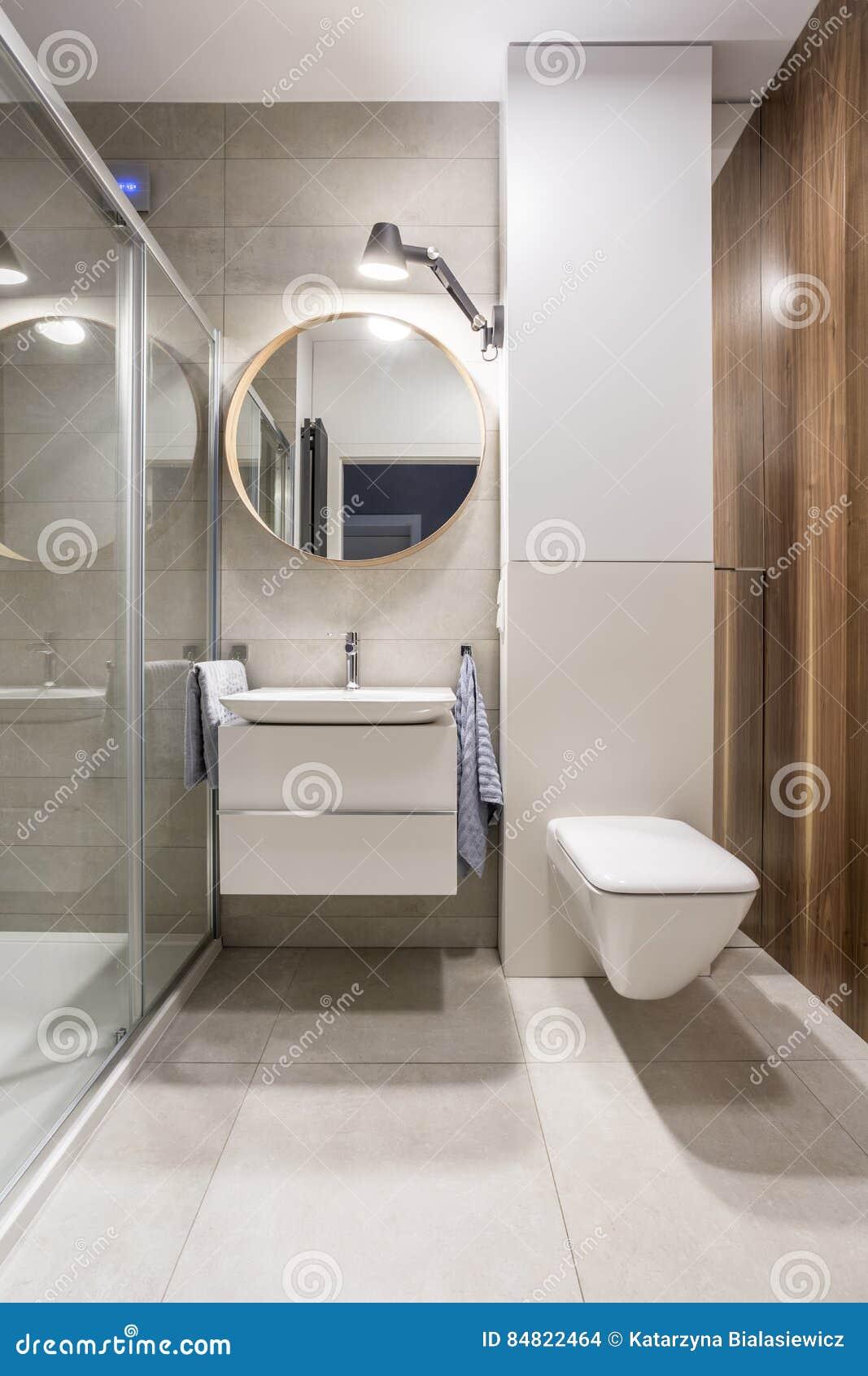 Graues Badezimmer Mit Toilette Stockfoto - Bild von grau ...