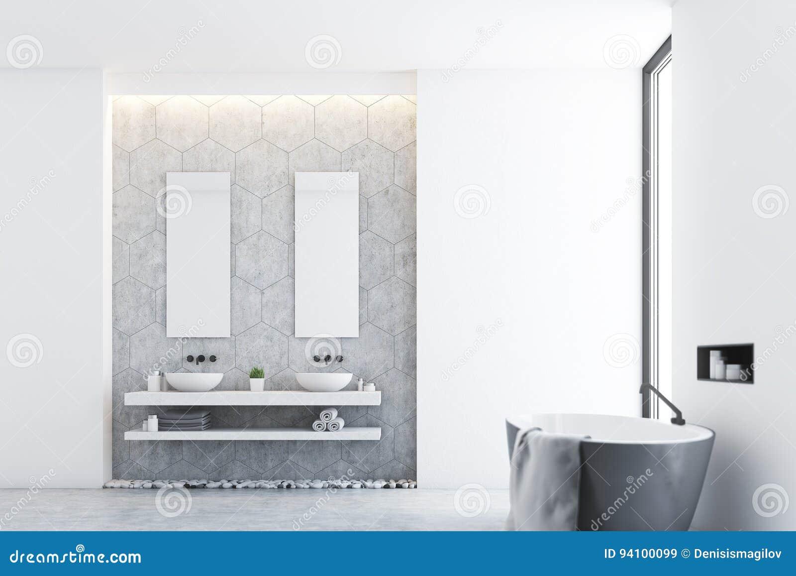 Graues Badezimmer Und Ein Fenster, Seite Stock Abbildung ...