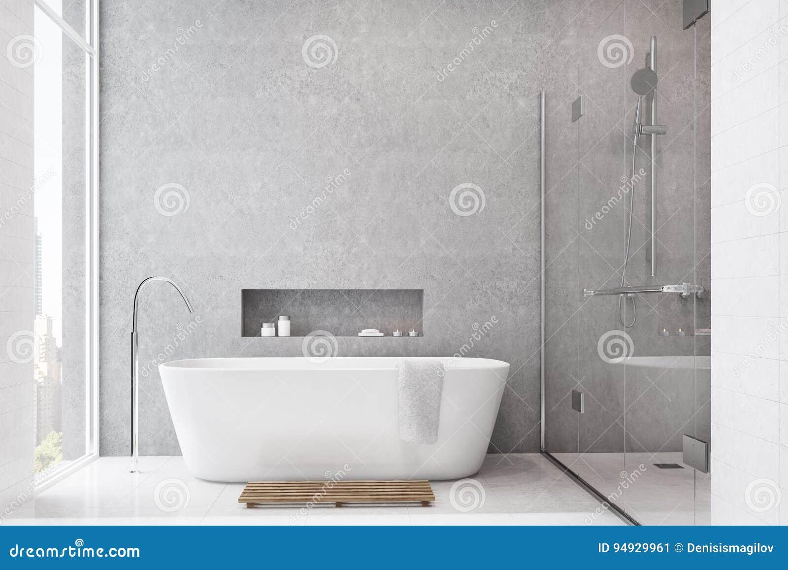 Graues Badezimmer, Weiße Fliesen, Dusche Stock Abbildung ...