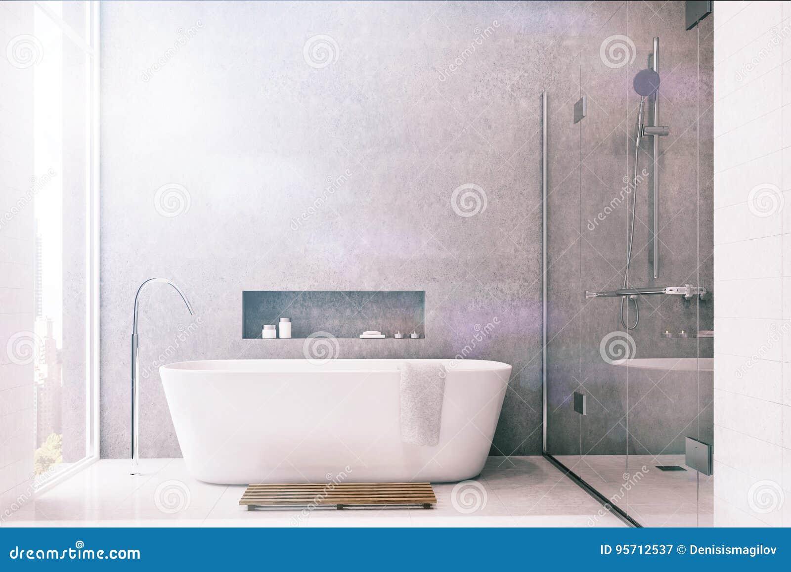 Graues Badezimmer, Weiße Fliesen, Dusche Getont Stock Abbildung ...