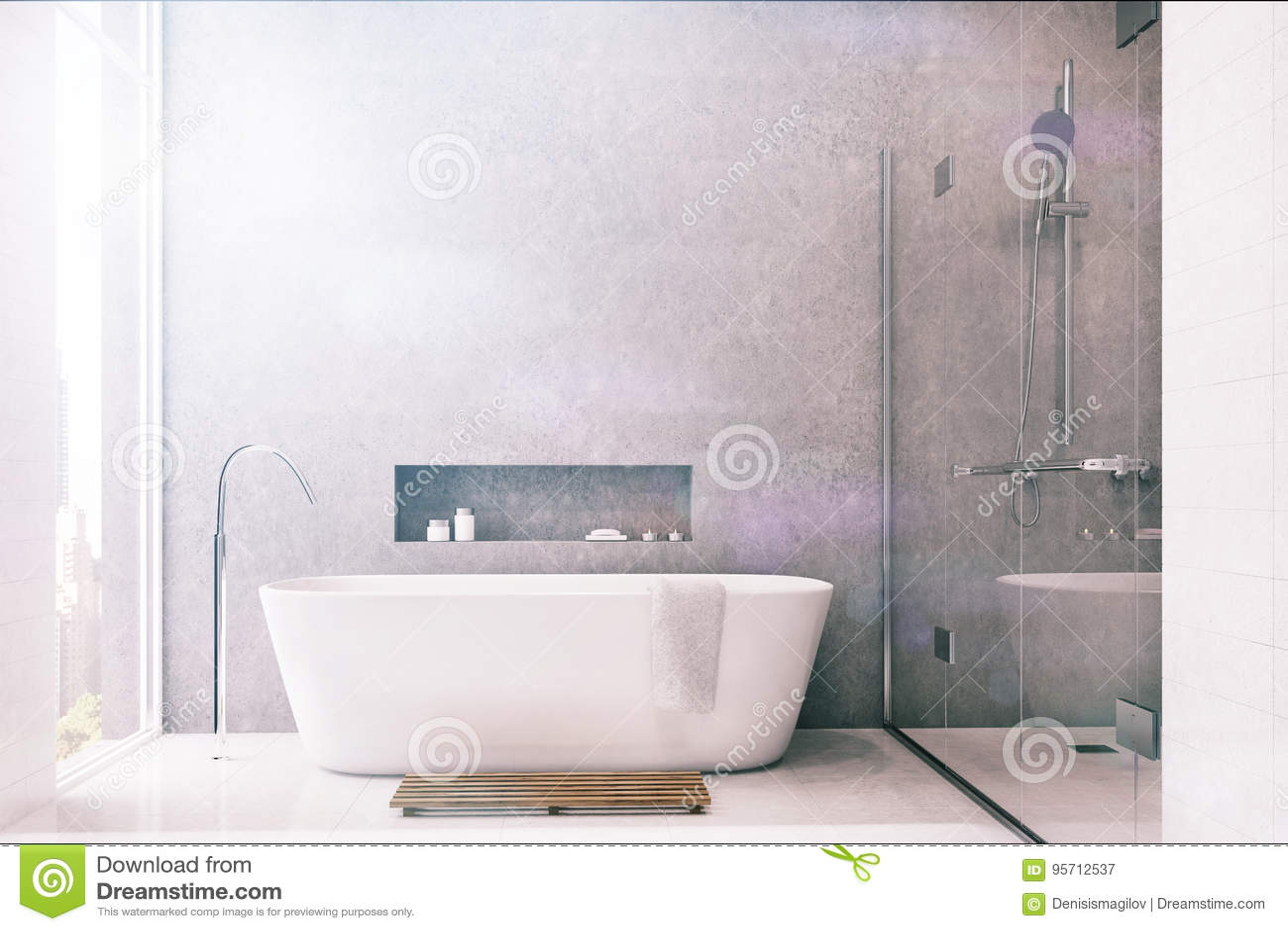 Graues Badezimmer, Weiße Fliesen, Dusche Getont Stock ...