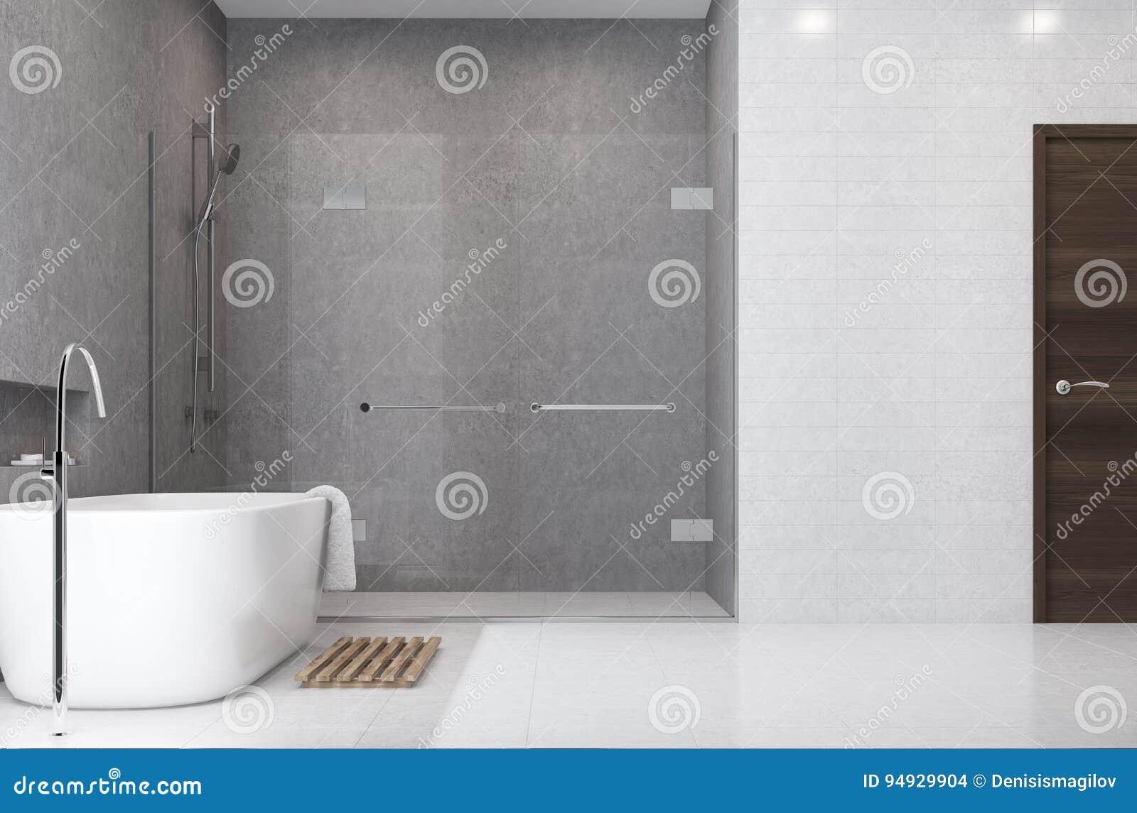 Graues Badezimmer, Weiße Fliesen, Duschseite Stock Abbildung ...