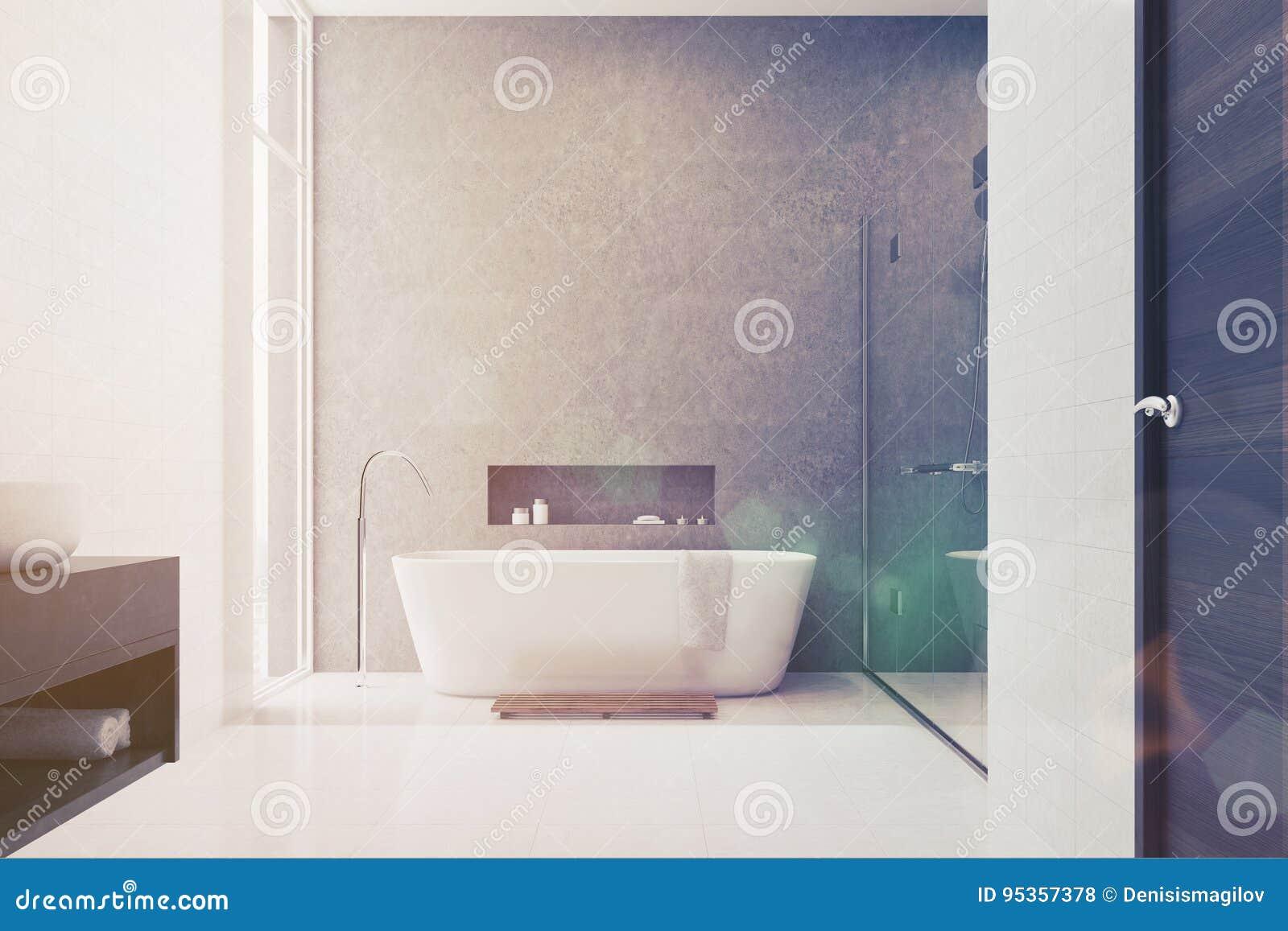Graues Badezimmer, Weiße Fliesen, Weiße Wanne Getont Stock Abbildung ...