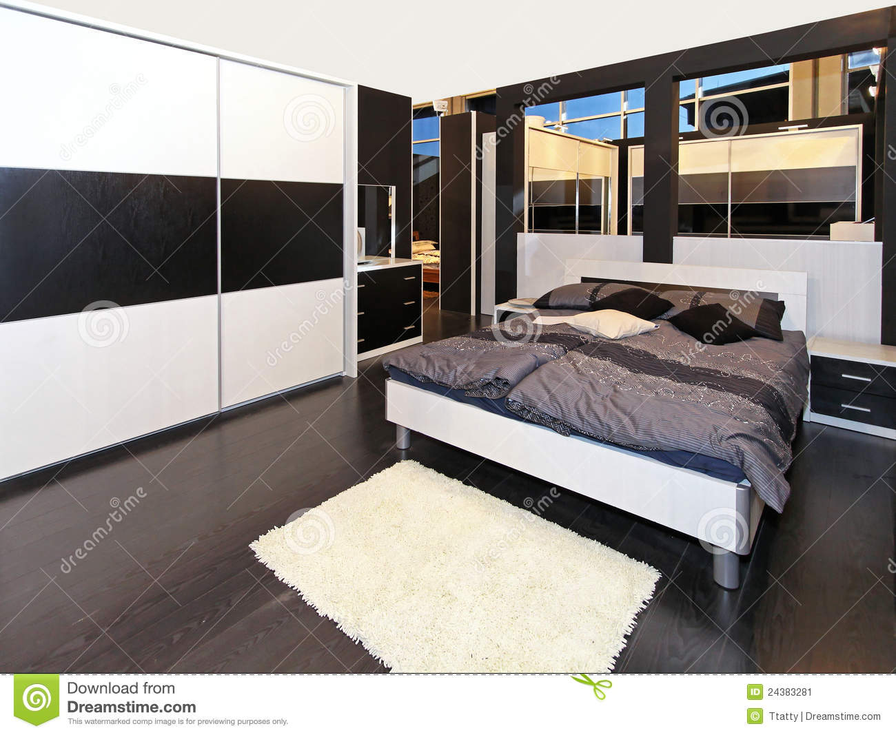 graues schlafzimmer stockbild bild 24383281. Black Bedroom Furniture Sets. Home Design Ideas