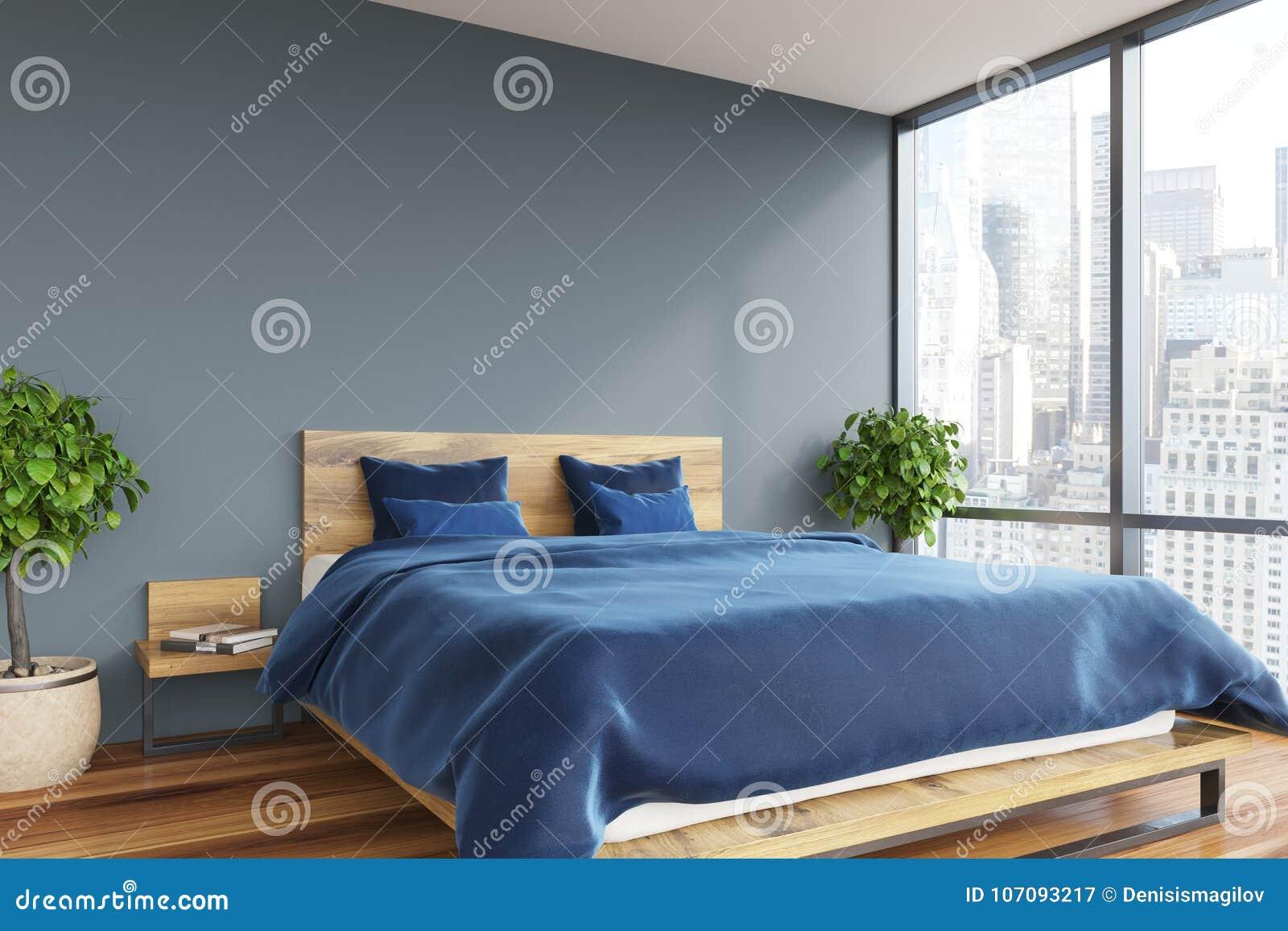 Graues Schlafzimmer, Blaues Bett Stock Abbildung - Illustration von ...