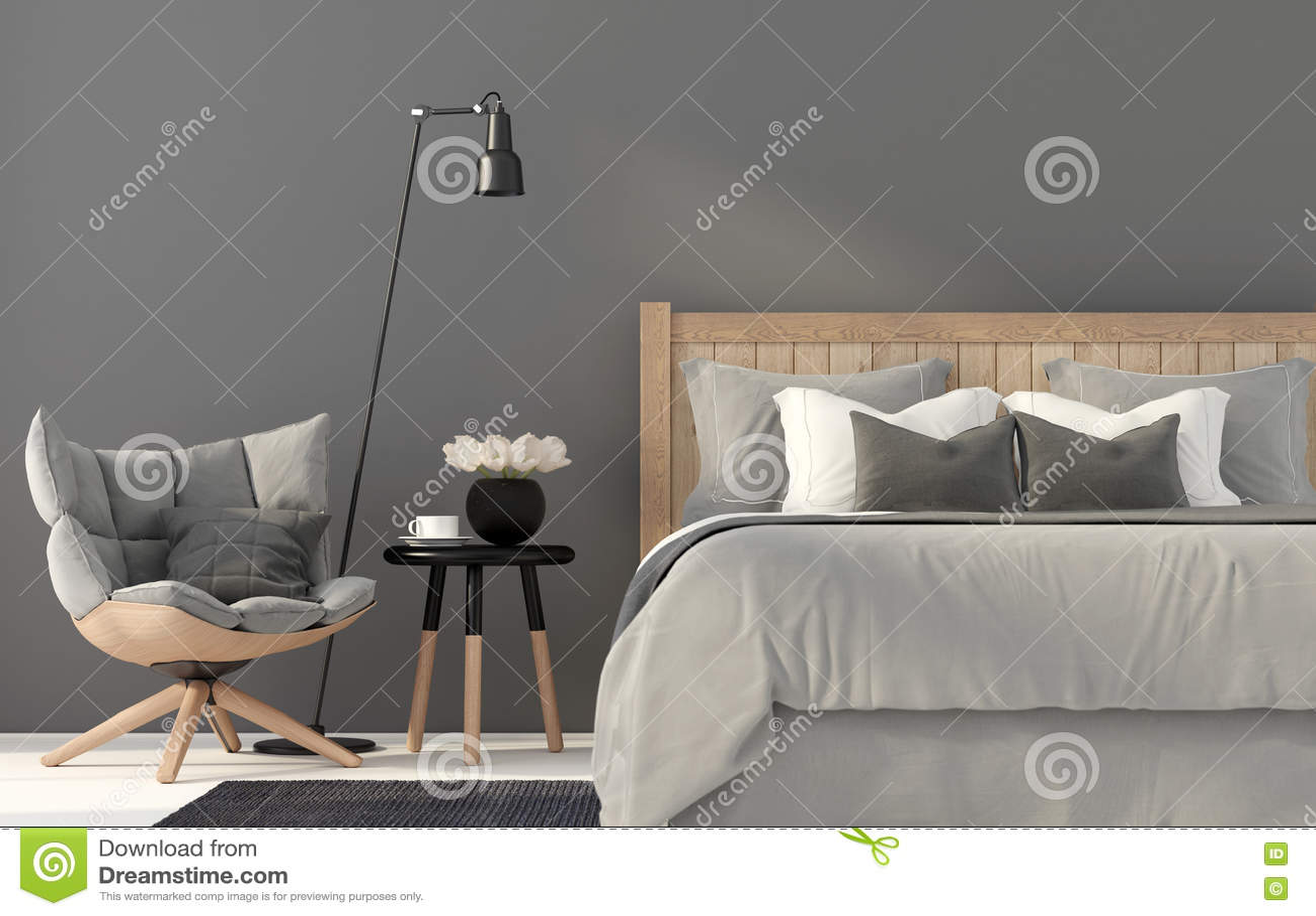 Graues Schlafzimmer Mit Einem Hölzernen Bett