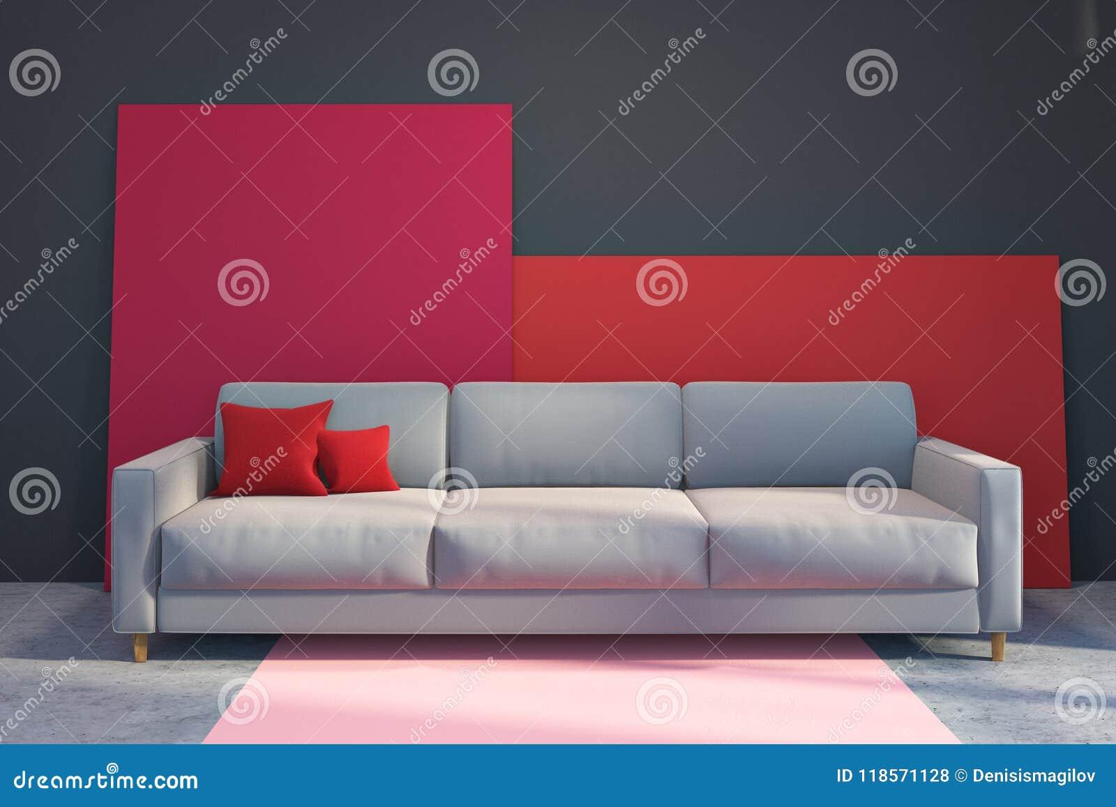 Graues Sofa In Einem Grauen Und Roten Wohnzimmer Stock Abbildung