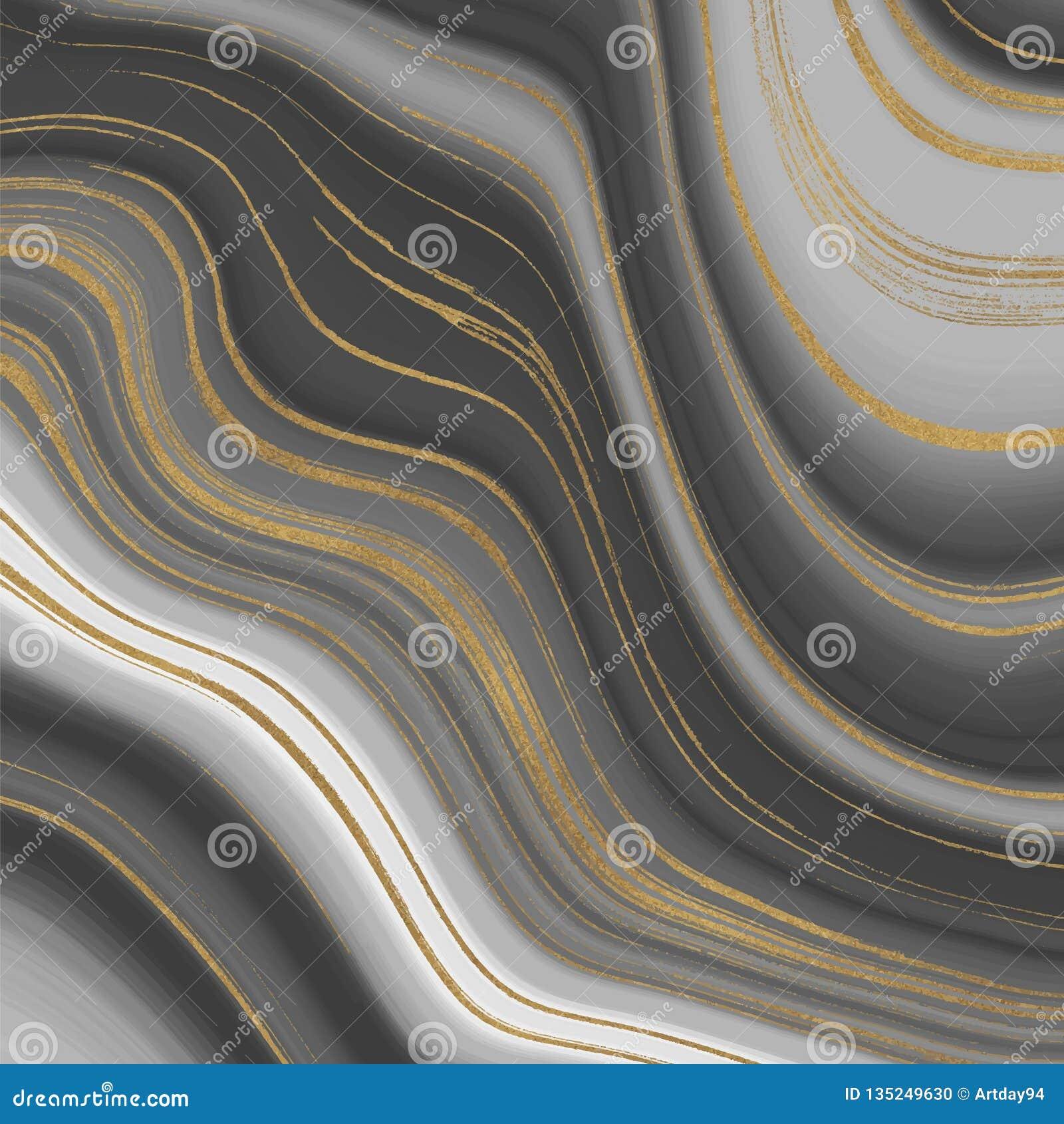 Graues und goldenes Funkelntintenmalerei-Zusammenfassungsmuster Flüssige Marmorbeschaffenheit Modischer Hintergrund für Tapete, F