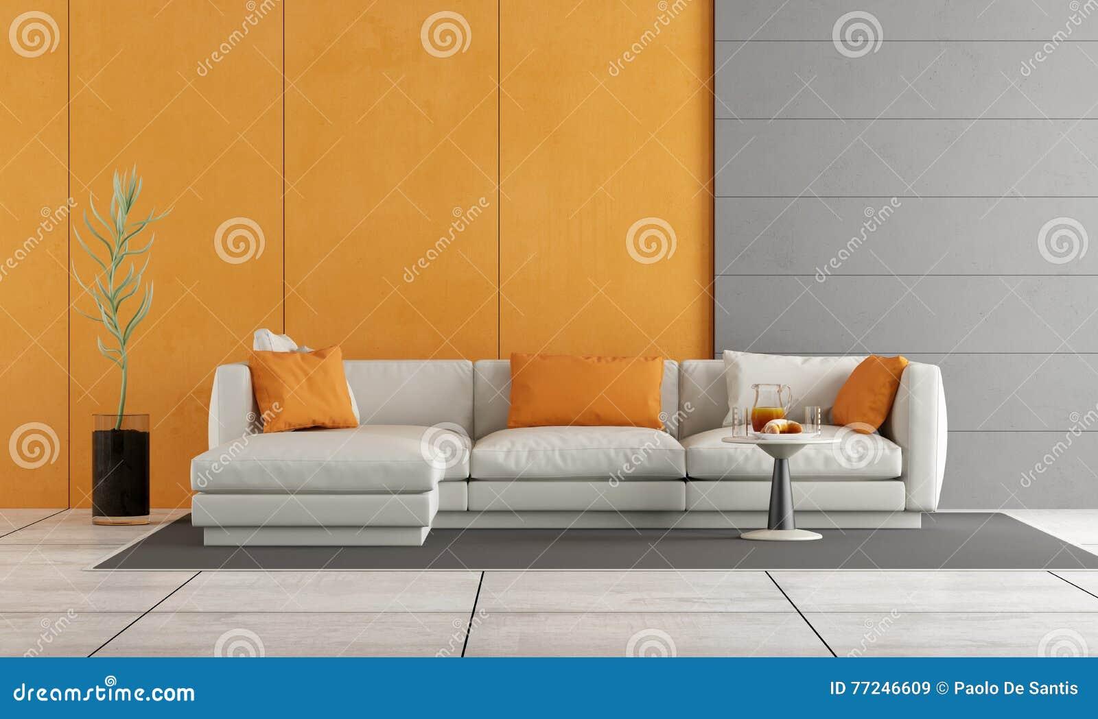 Graues Und Orange Wohnzimmer