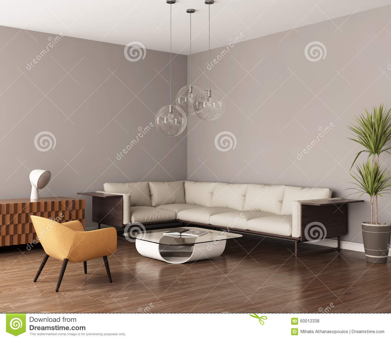 graues wohnzimmer mit einem ledernen sofa stockfoto bild 60012338. Black Bedroom Furniture Sets. Home Design Ideas