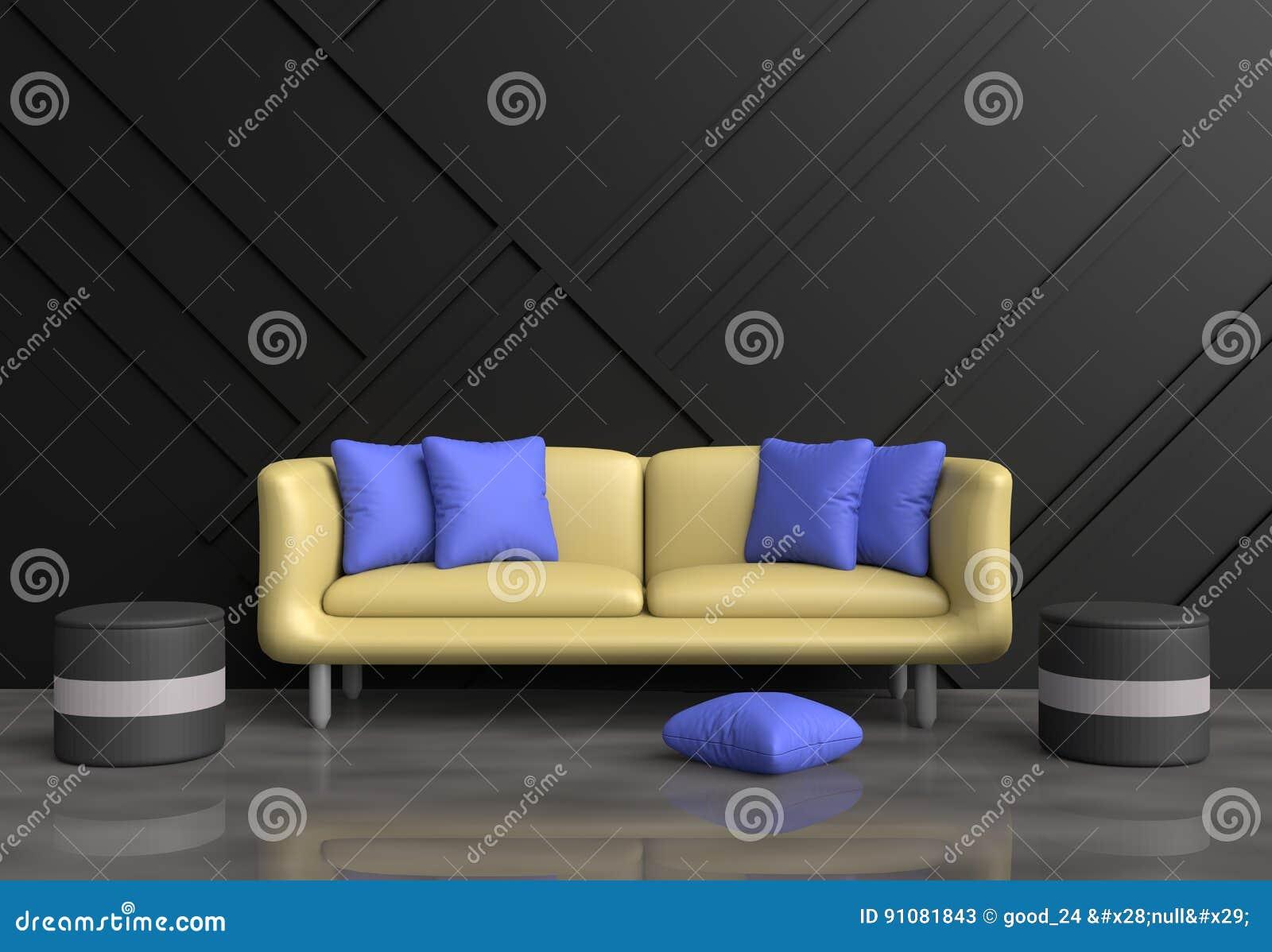 Graues Wohnzimmer Sind Verziertes Gelbes Sofa Blaue Kissen Grauer