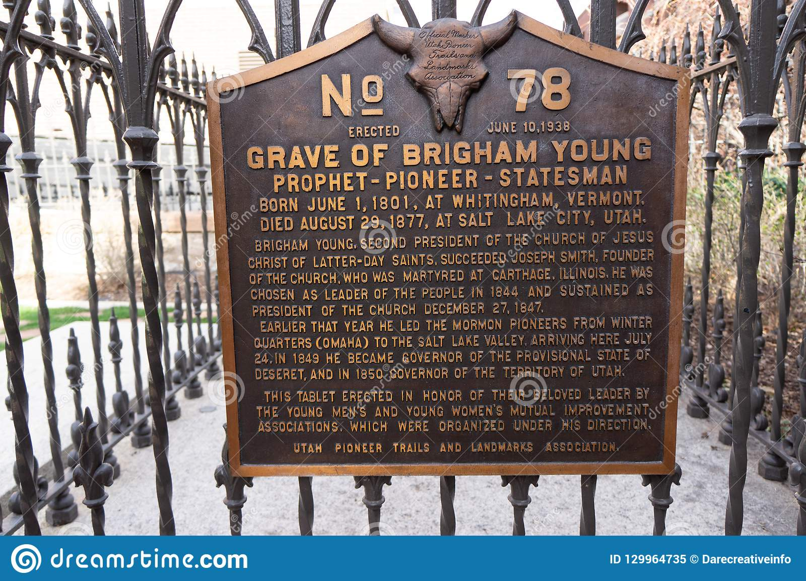Grav av Brigham Young, president av den mormon kyrkan, på Mormo