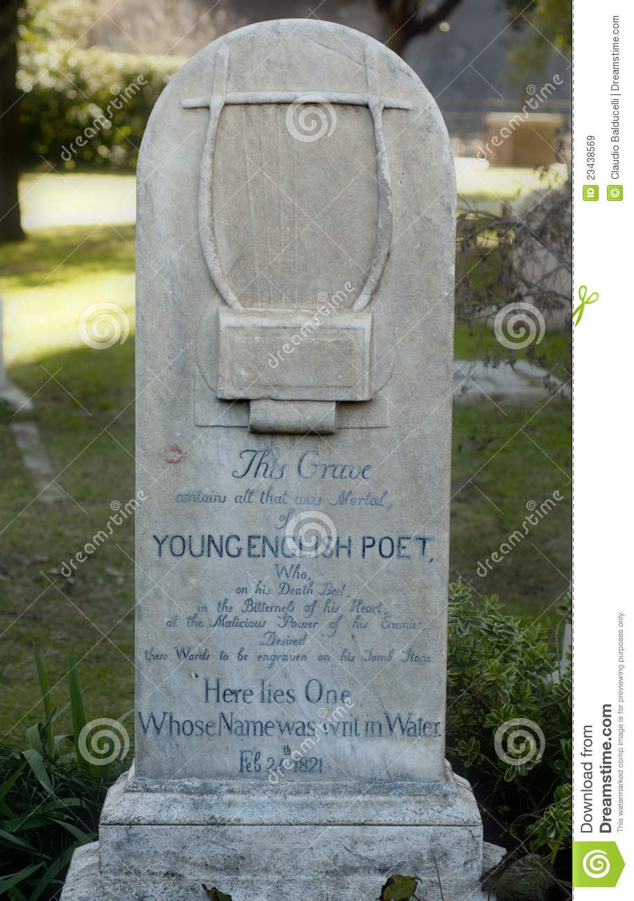 The grave of English poet John Keats