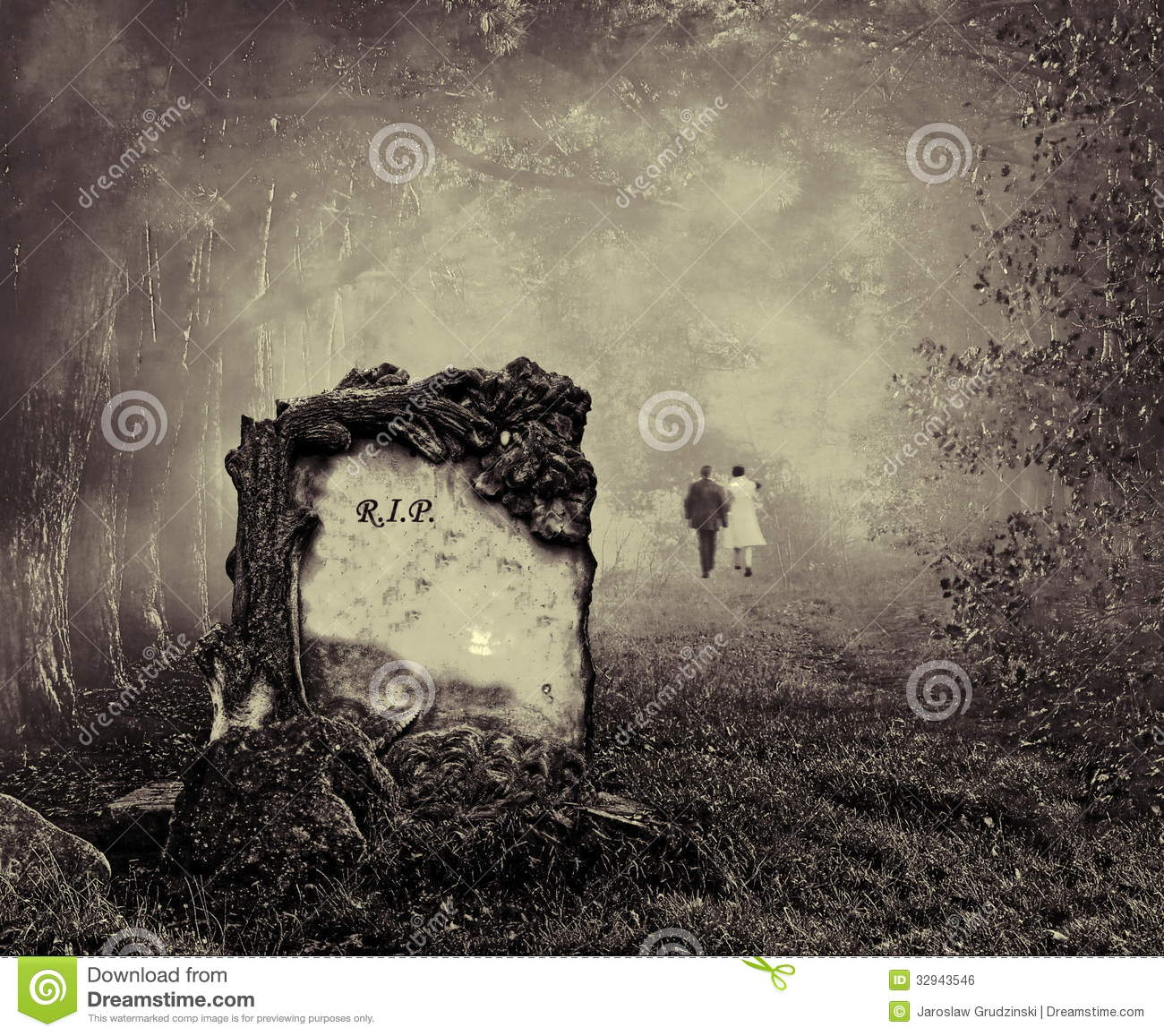 Grave in a forest