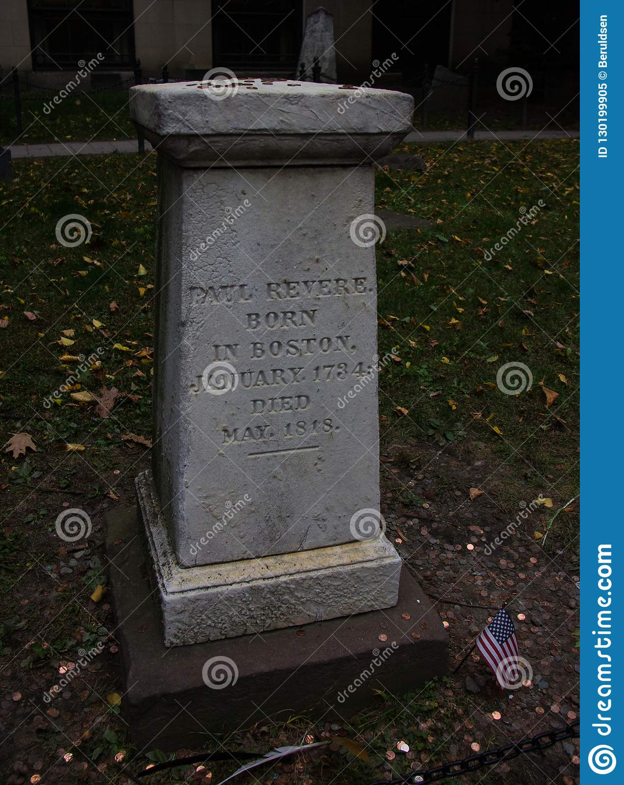 The Grave of Paul Revere editorial image  Image of american